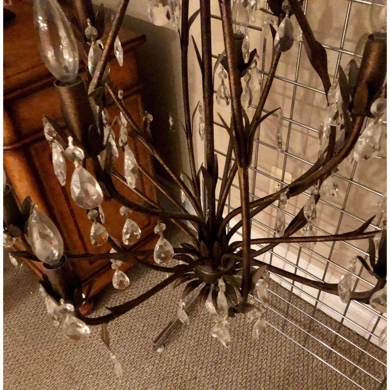 Bronze Leaf Motif Twelve Arm Crystal Chandelier - image-5