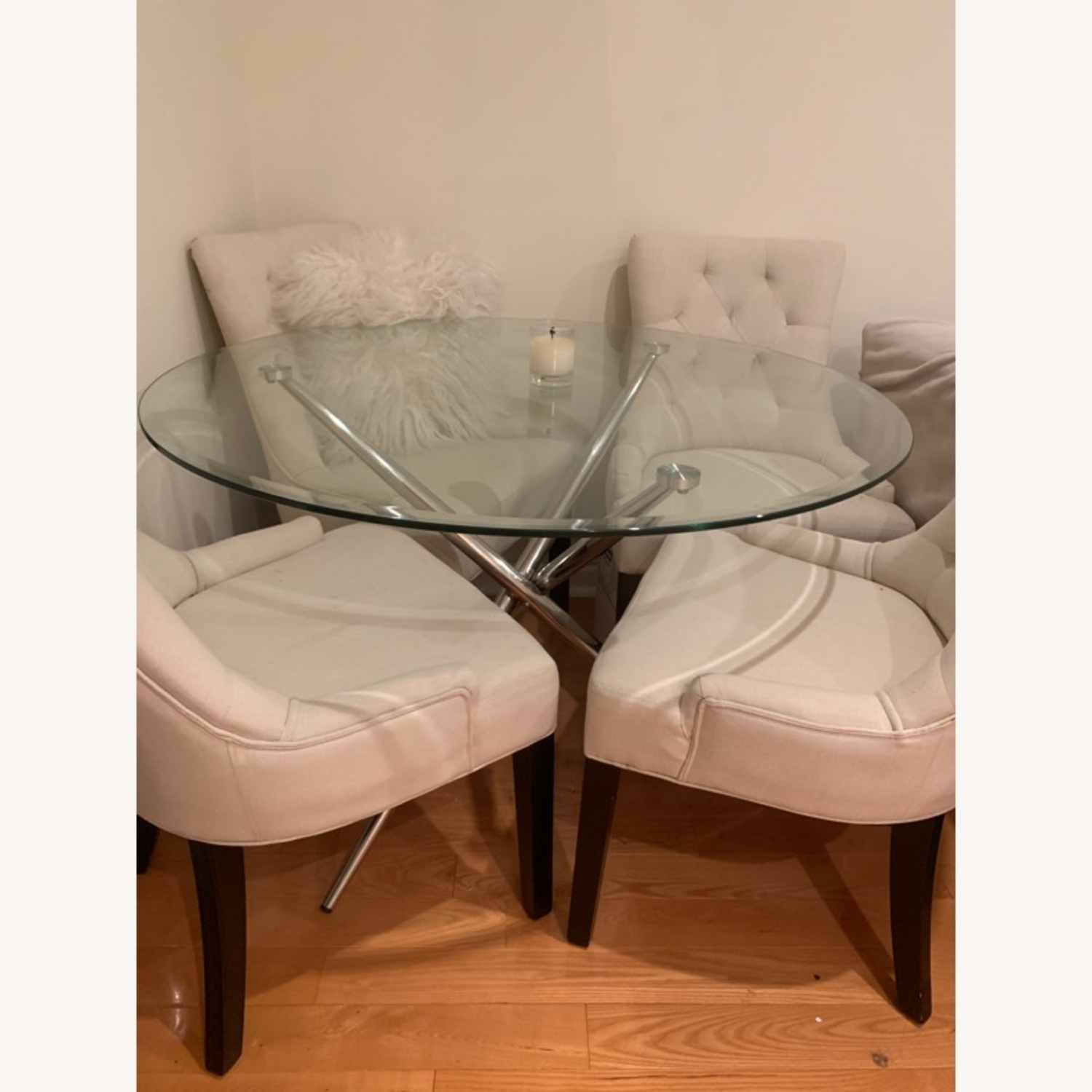 Raymour & Flanigan Round Glass Modern Dining Table - image-1