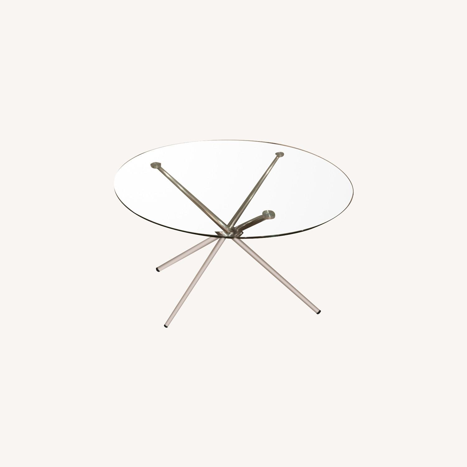 Raymour & Flanigan Round Glass Modern Dining Table - image-0