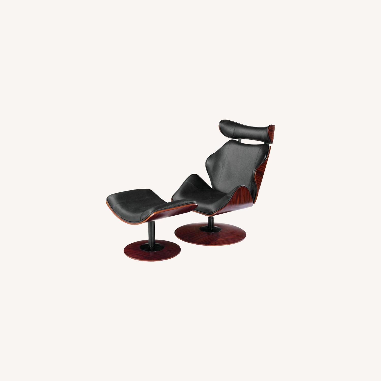 Lounge Chair In Black Leather W/ Veneer Wood Frame - image-5