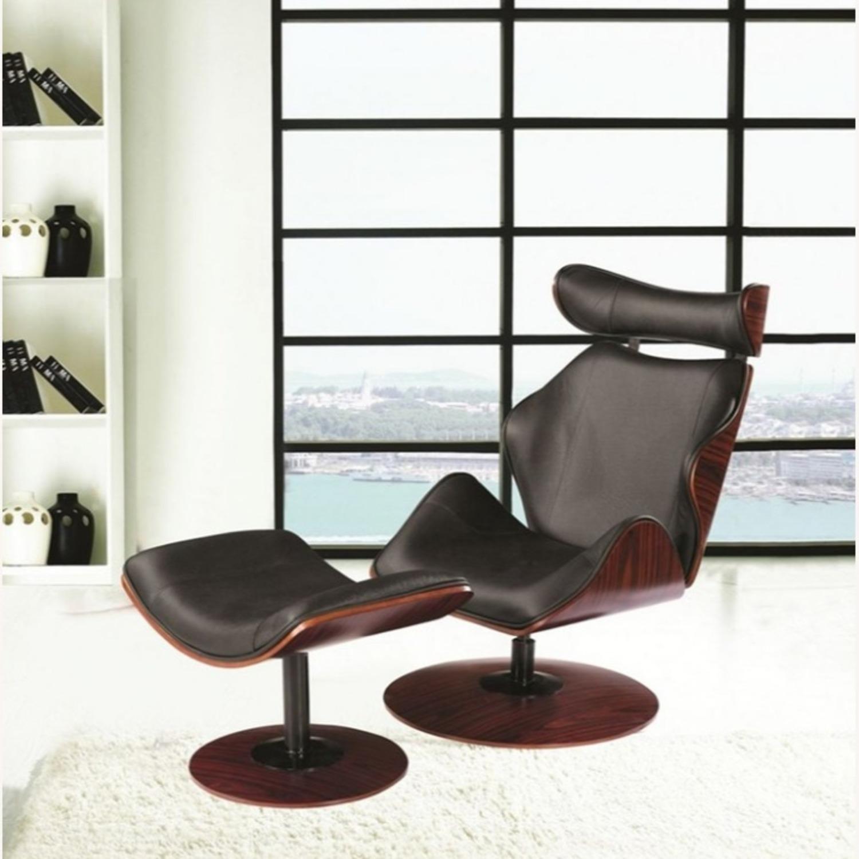 Lounge Chair In Black Leather W/ Veneer Wood Frame - image-3
