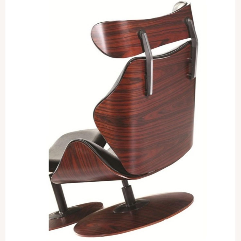 Lounge Chair In Black Leather W/ Veneer Wood Frame - image-1