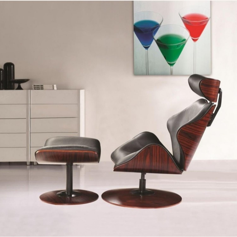 Lounge Chair In Black Leather W/ Veneer Wood Frame - image-2