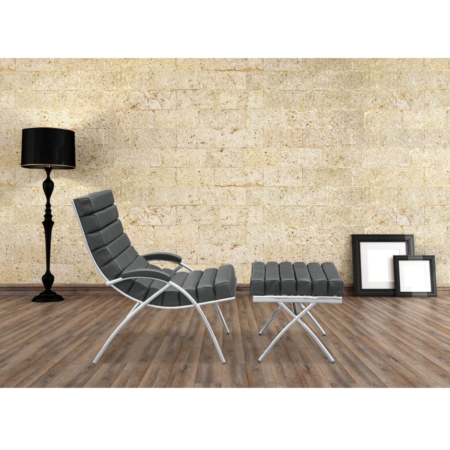 Chair & Ottoman In Black Leather & Stainless Steel - image-6