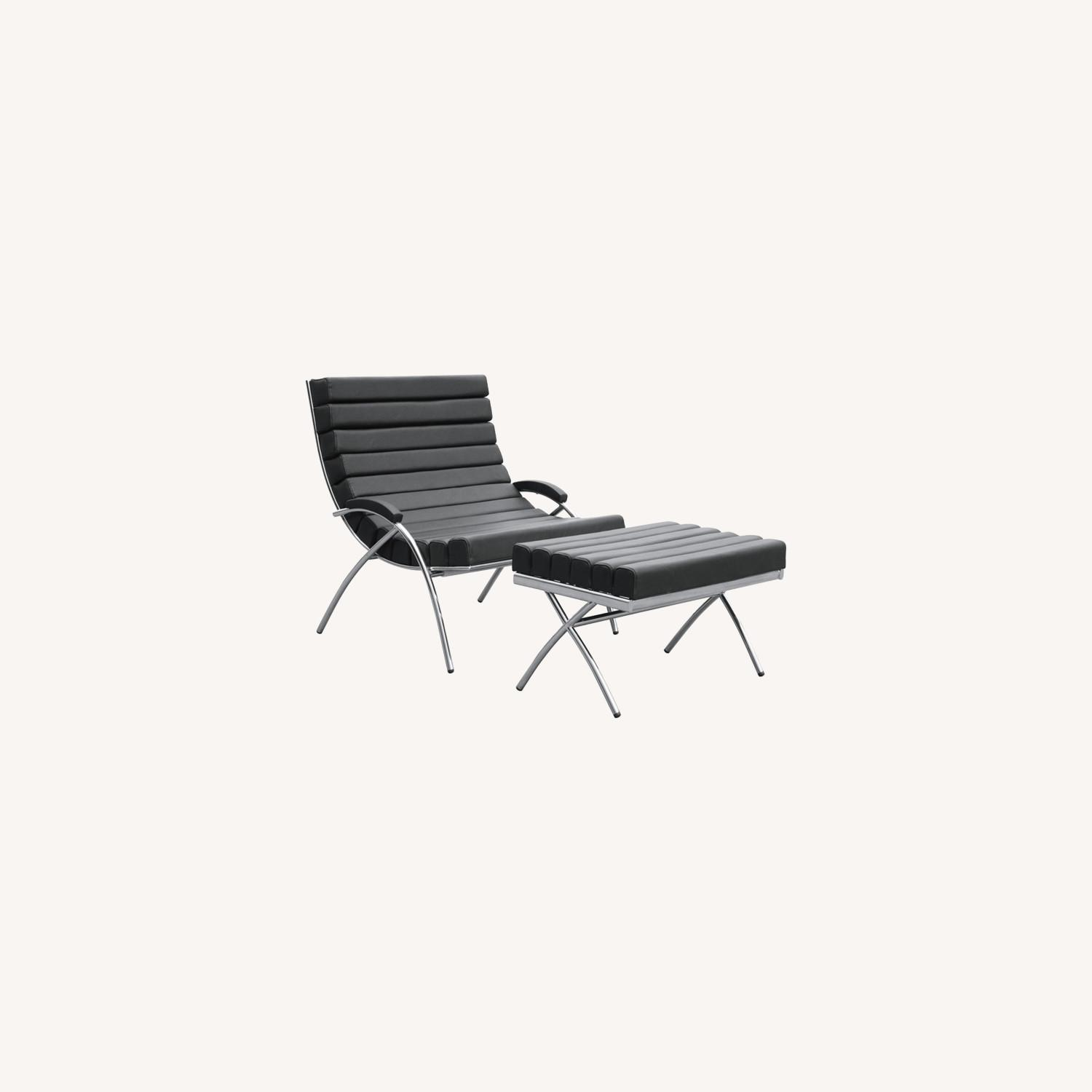 Chair & Ottoman In Black Leather & Stainless Steel - image-7