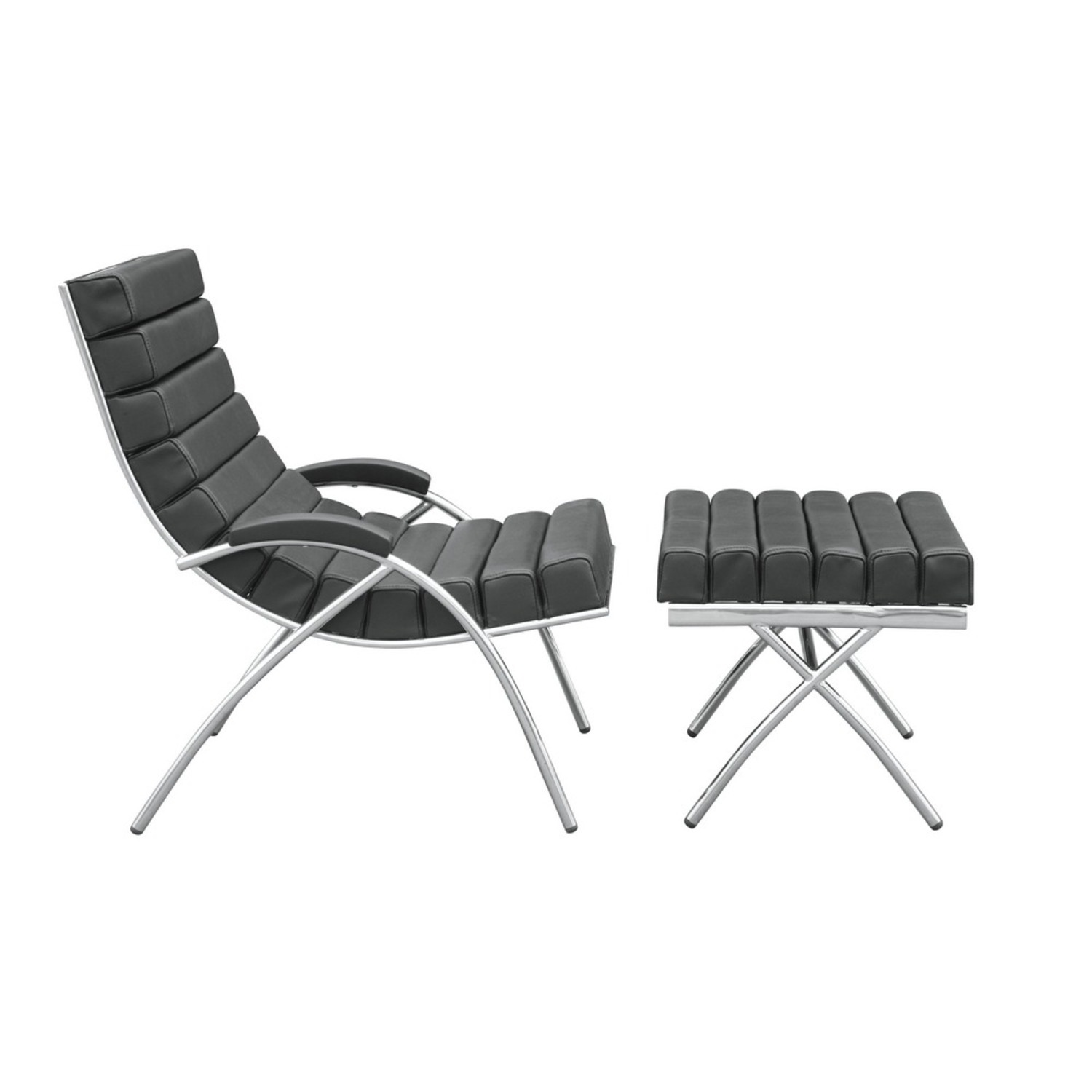 Chair & Ottoman In Black Leather & Stainless Steel - image-1