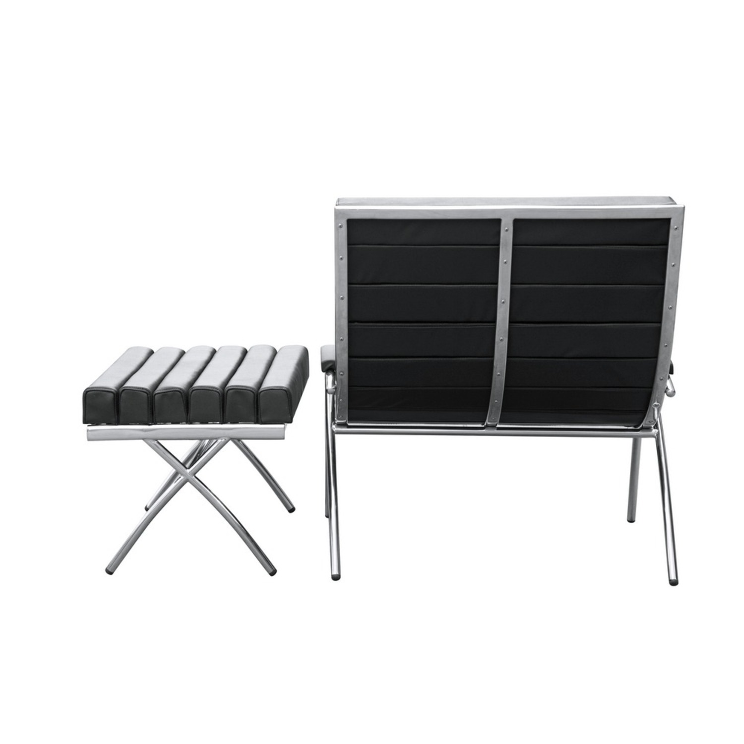 Chair & Ottoman In Black Leather & Stainless Steel - image-2