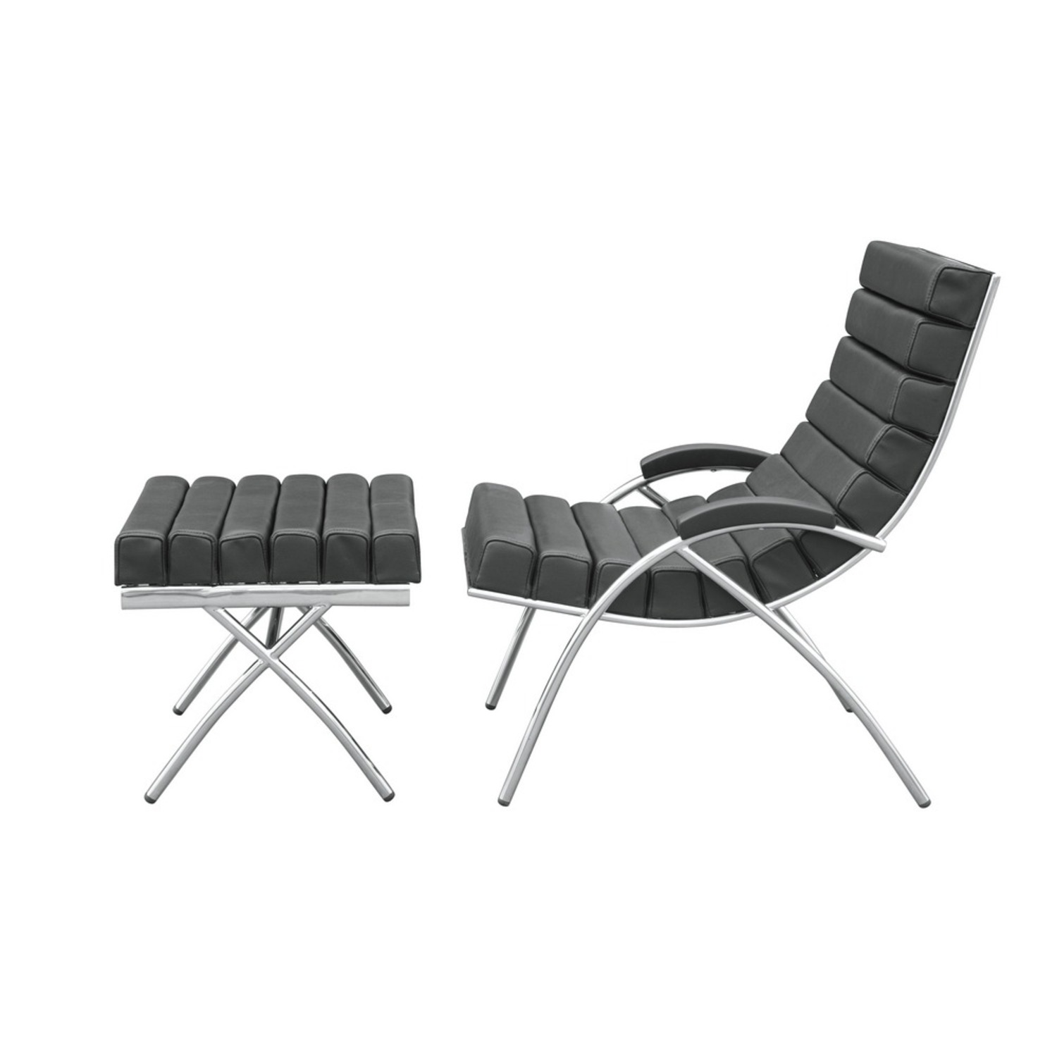 Chair & Ottoman In Black Leather & Stainless Steel - image-3