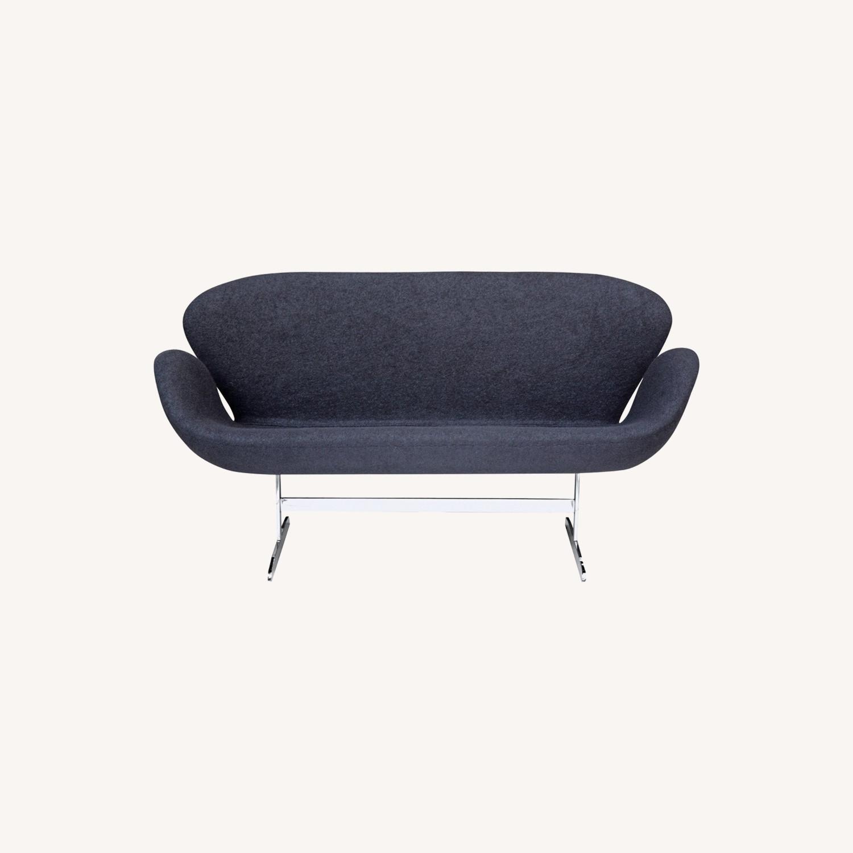 Modern Sofa In Black Wool Fabric & Aluminum Base - image-7