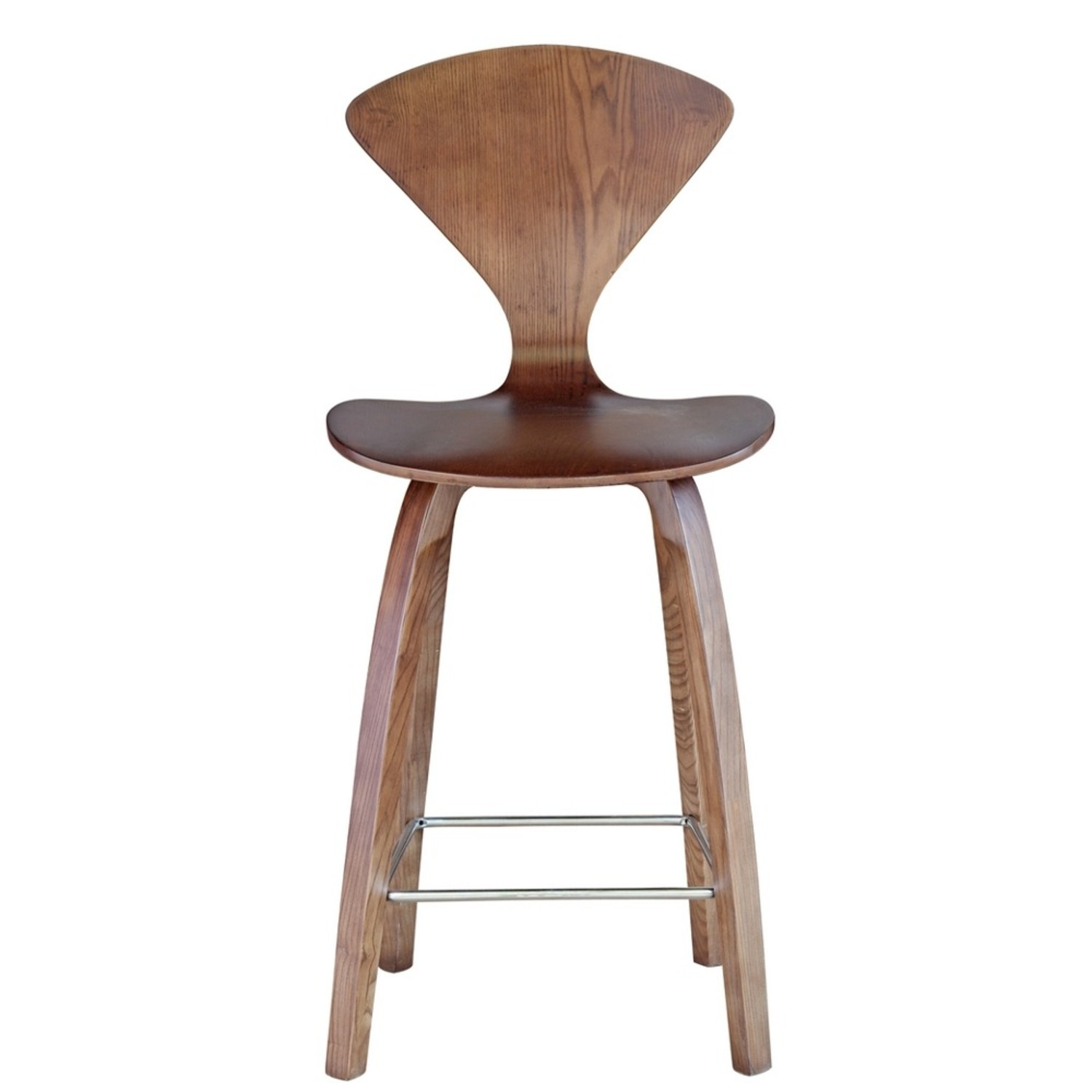 Counter Chair In Walnut Wood Finish - image-5