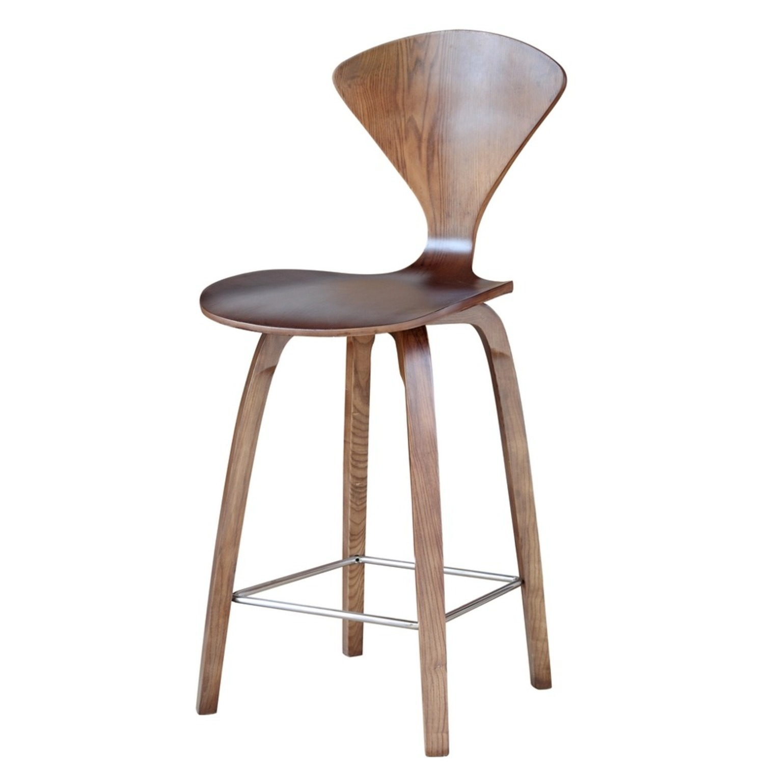 Counter Chair In Walnut Wood Finish - image-4