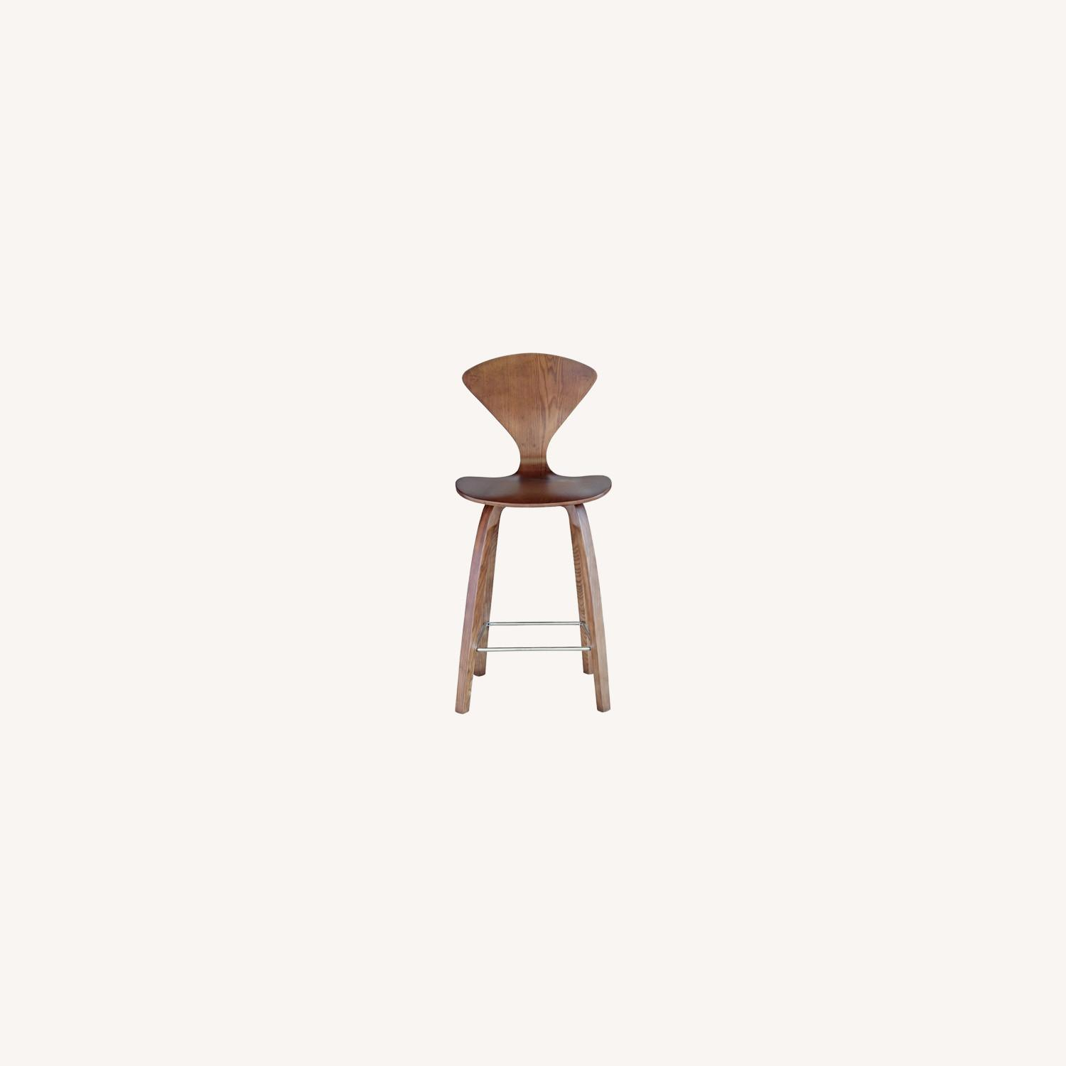 Counter Chair In Walnut Wood Finish - image-6