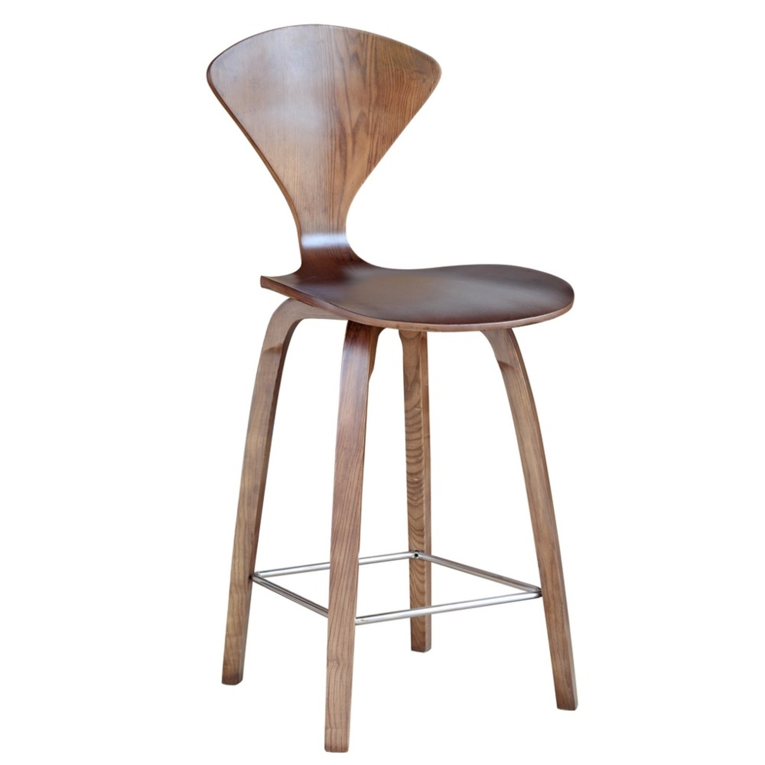 Counter Chair In Walnut Wood Finish - image-0