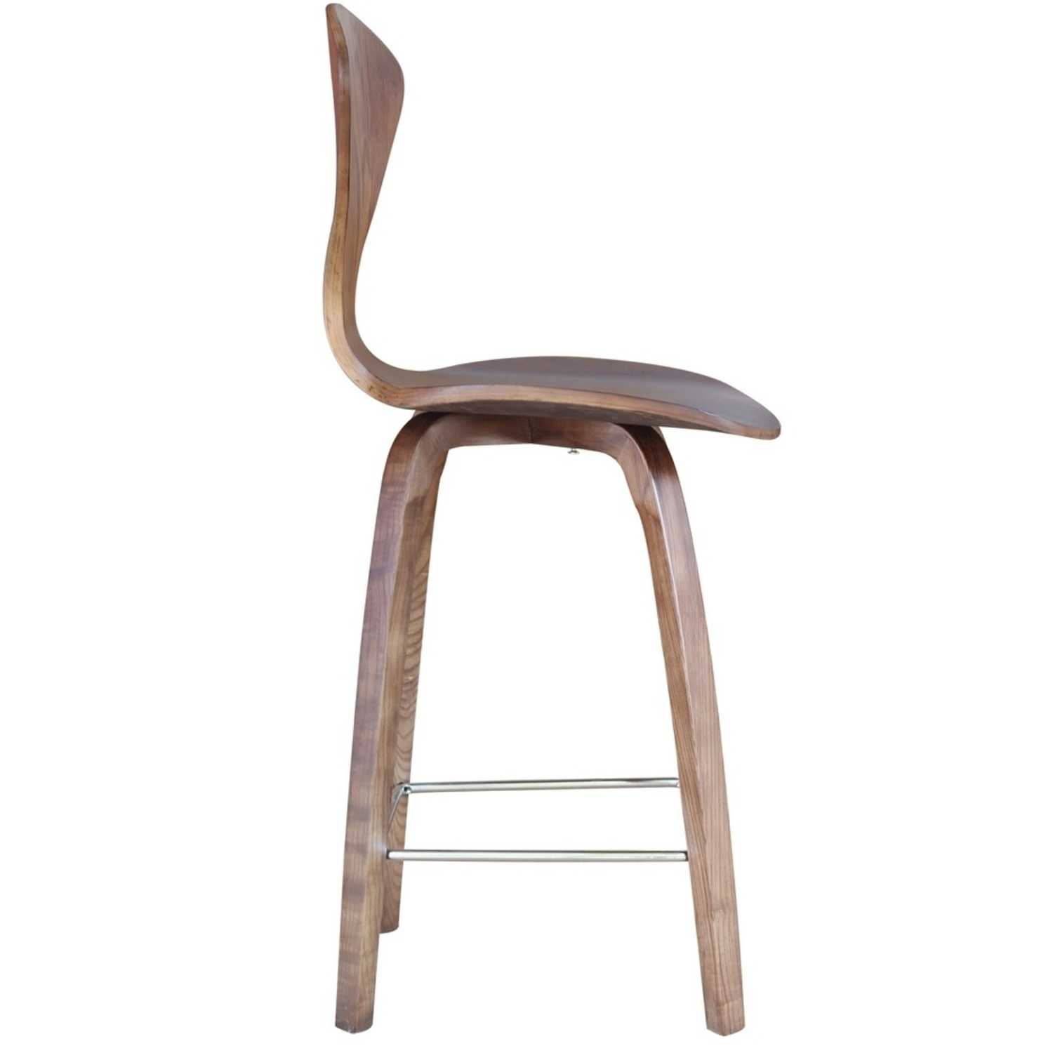 Counter Chair In Walnut Wood Finish - image-1