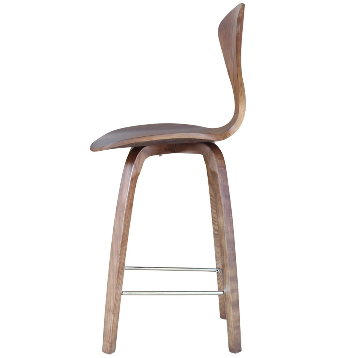 Counter Chair In Walnut Wood Finish - image-3