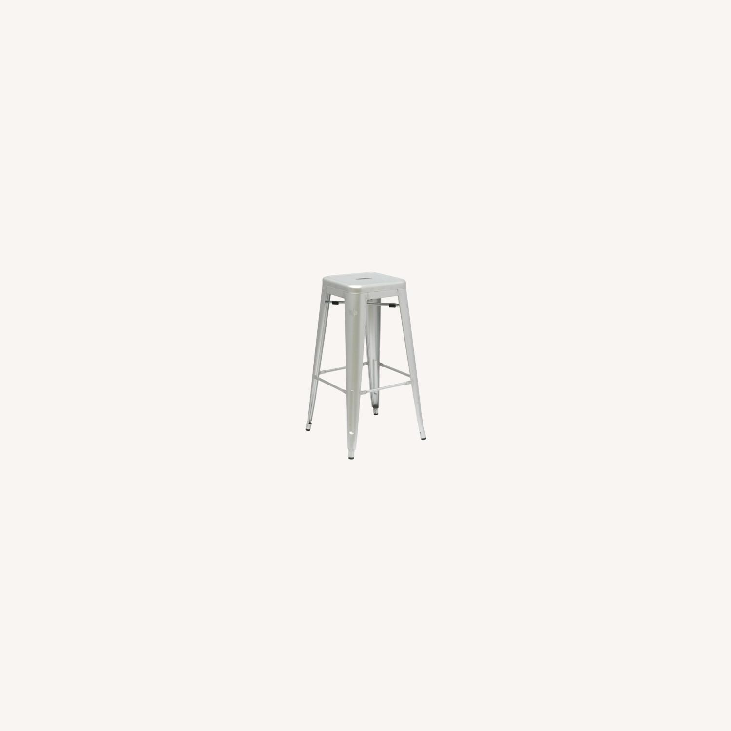 """30"""" Tall Bar Stool In Silver Galvanized Steel - image-3"""