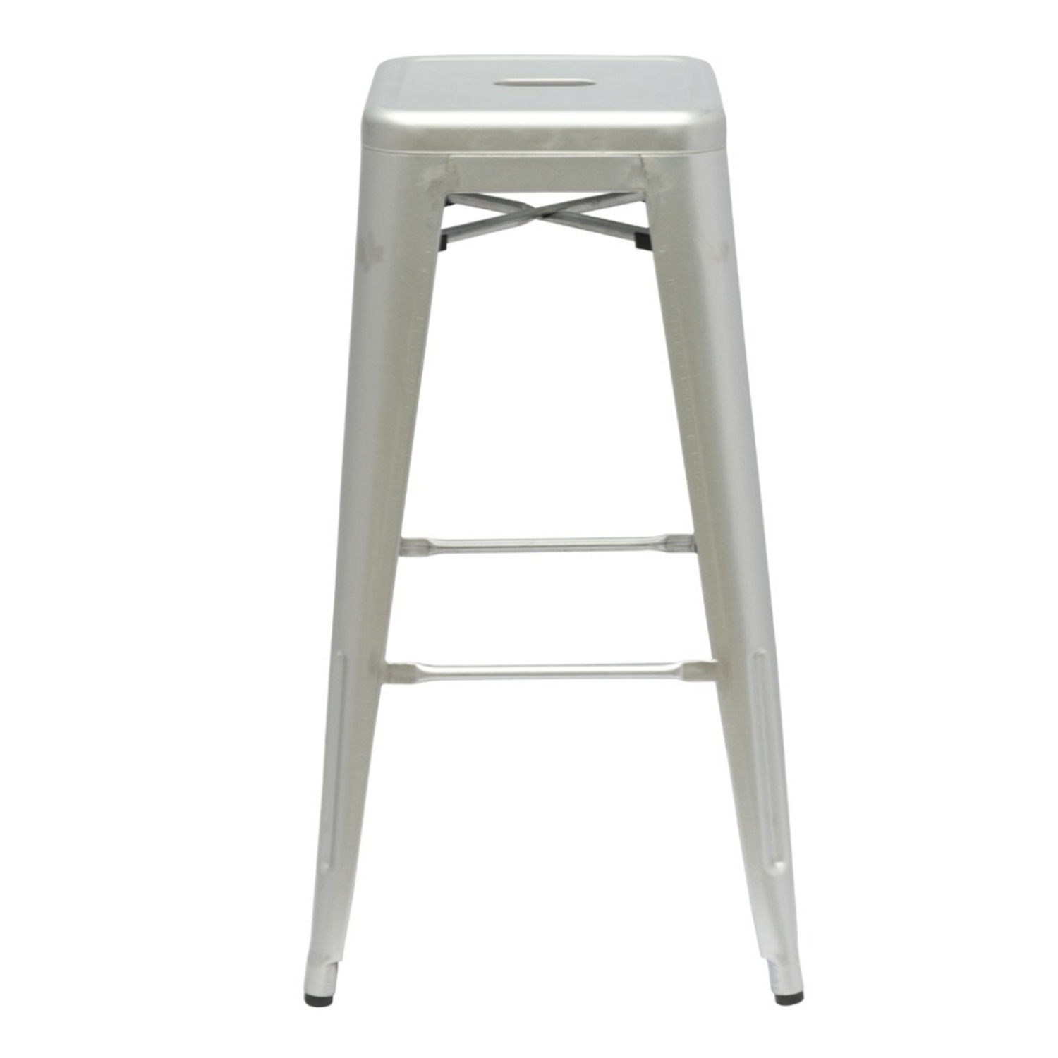 """30"""" Tall Bar Stool In Silver Galvanized Steel - image-1"""
