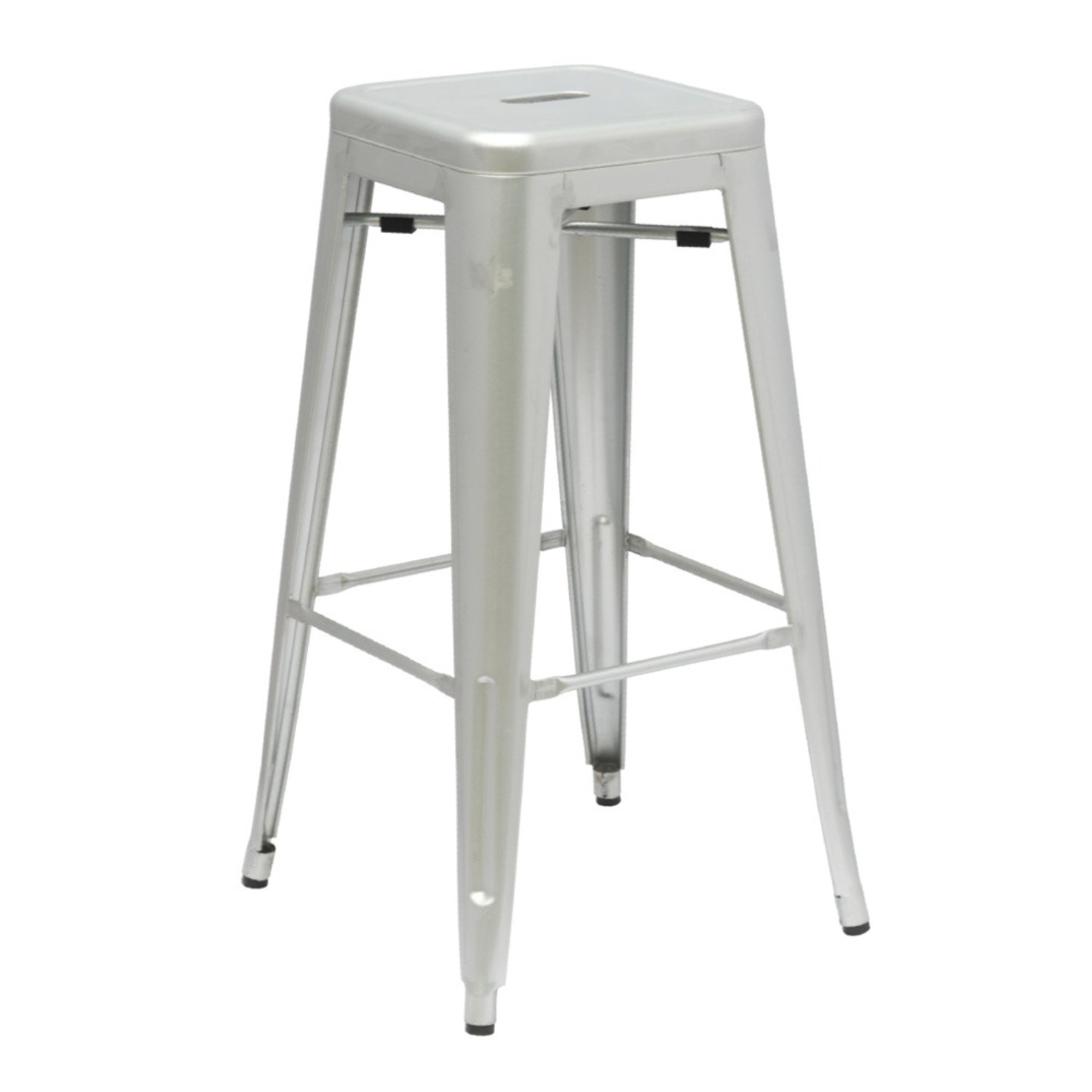 """30"""" Tall Bar Stool In Silver Galvanized Steel - image-0"""