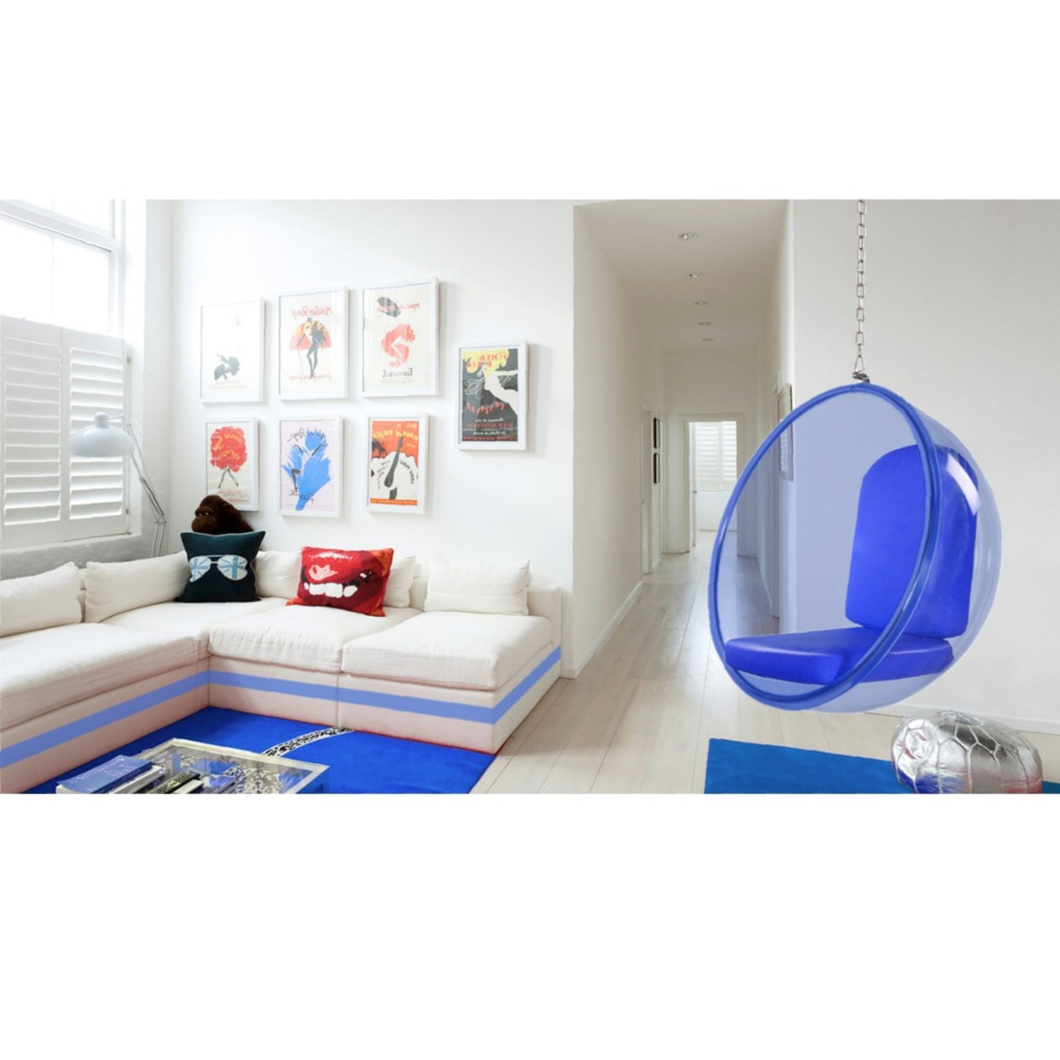 Hanging Chair In Blue Acrylic W/ PU Leather - image-2