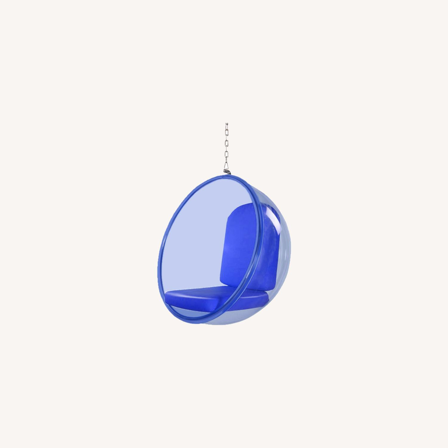 Hanging Chair In Blue Acrylic W/ PU Leather - image-3