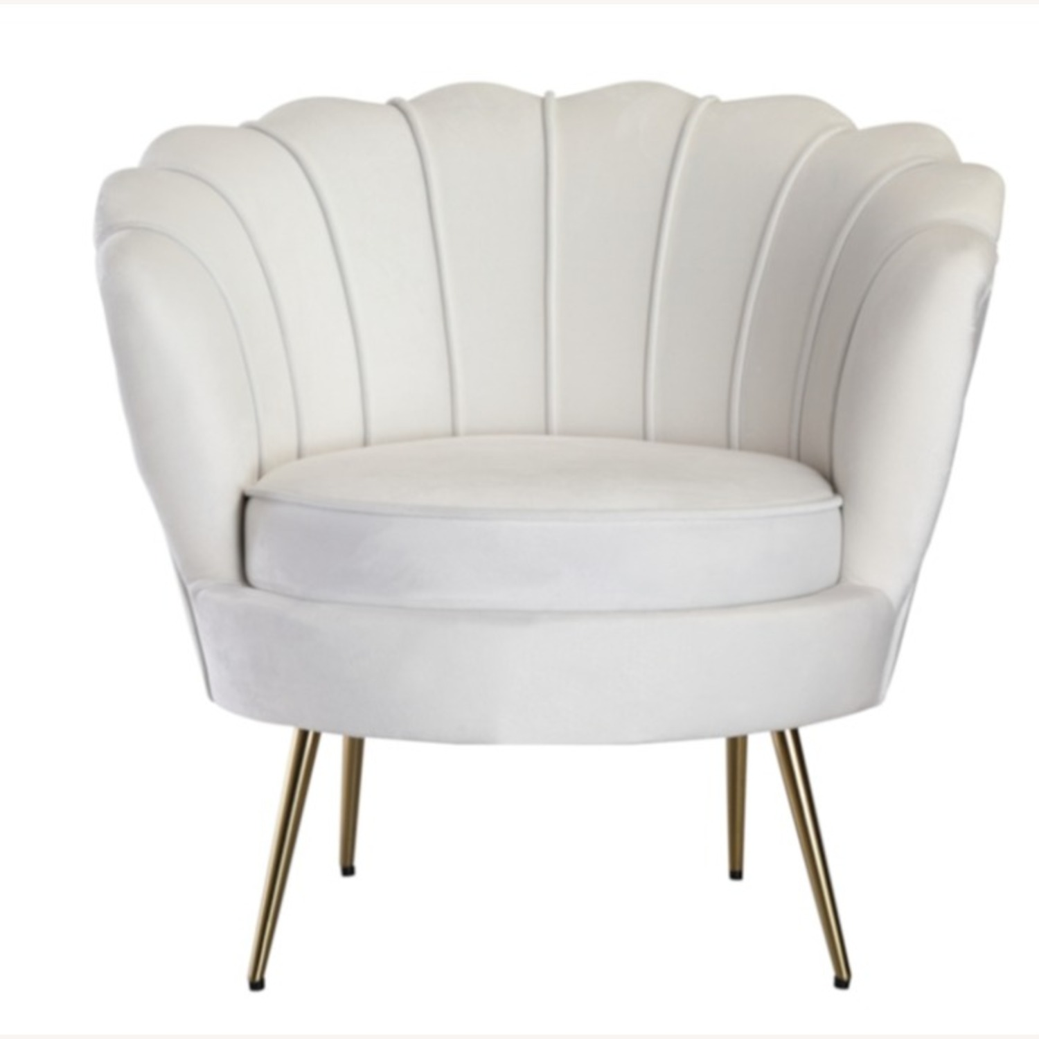 Modern Bridal Chair In White Suede Fabric - image-1