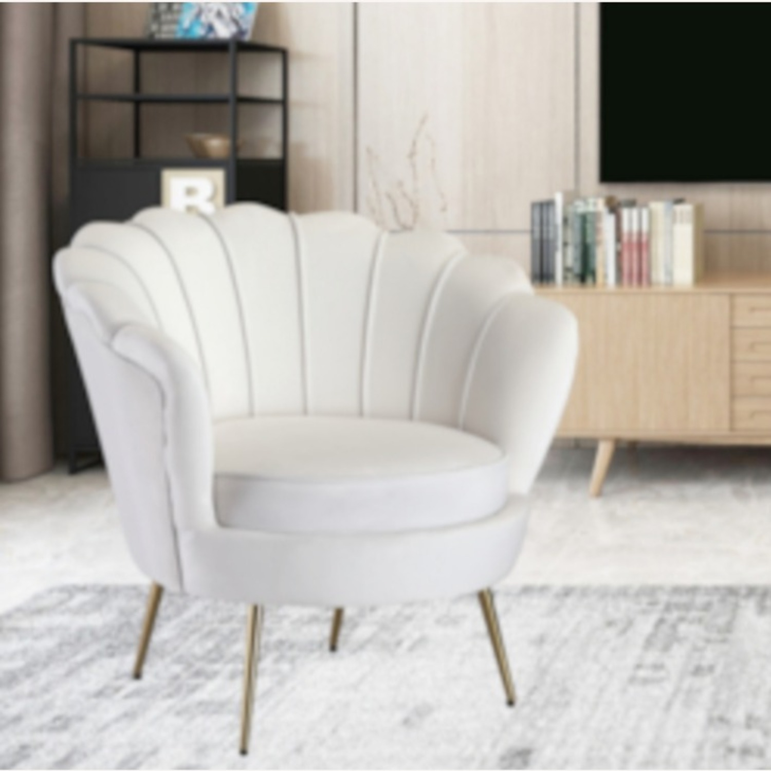 Modern Bridal Chair In White Suede Fabric - image-3