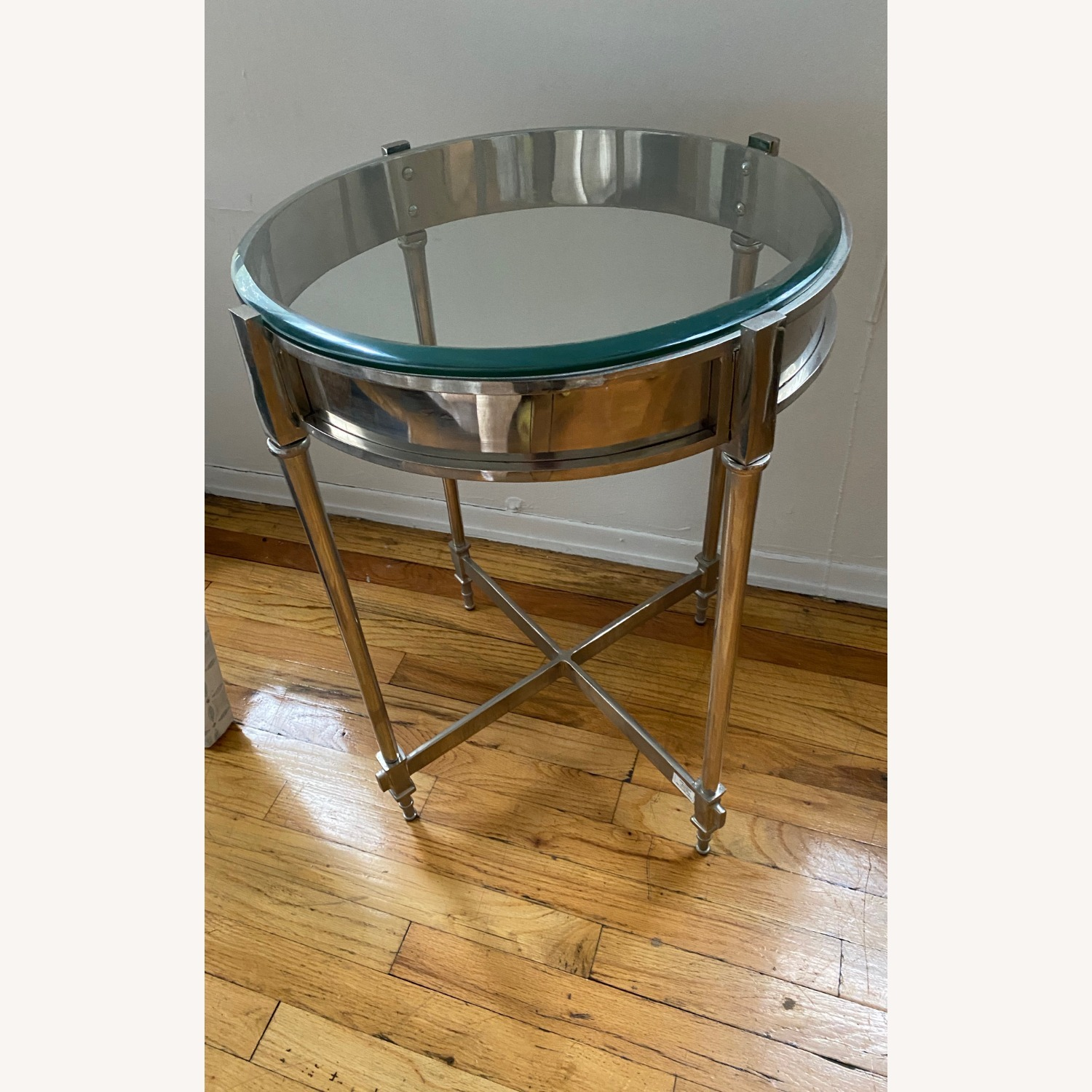 Glass & Chrome Side Table - image-1
