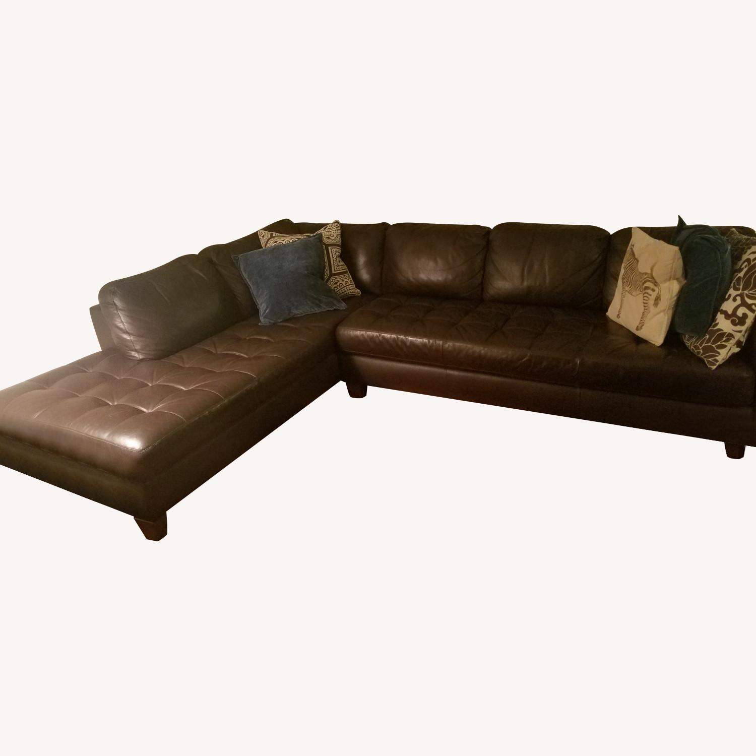 Macy's Stylish Leather Sectional - image-0