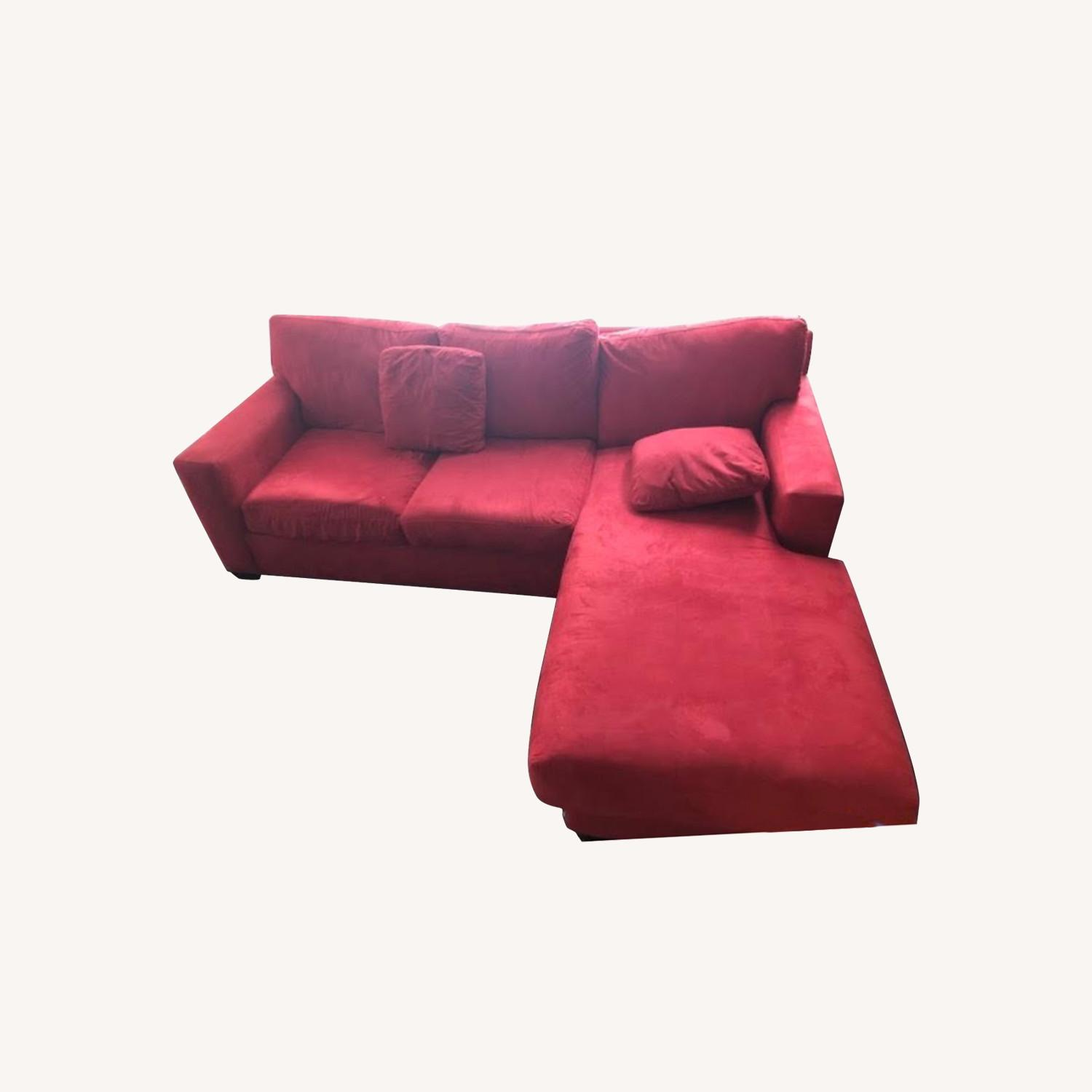 Macy's Red Suede Sofa Bed with Chaise Lounge - image-0