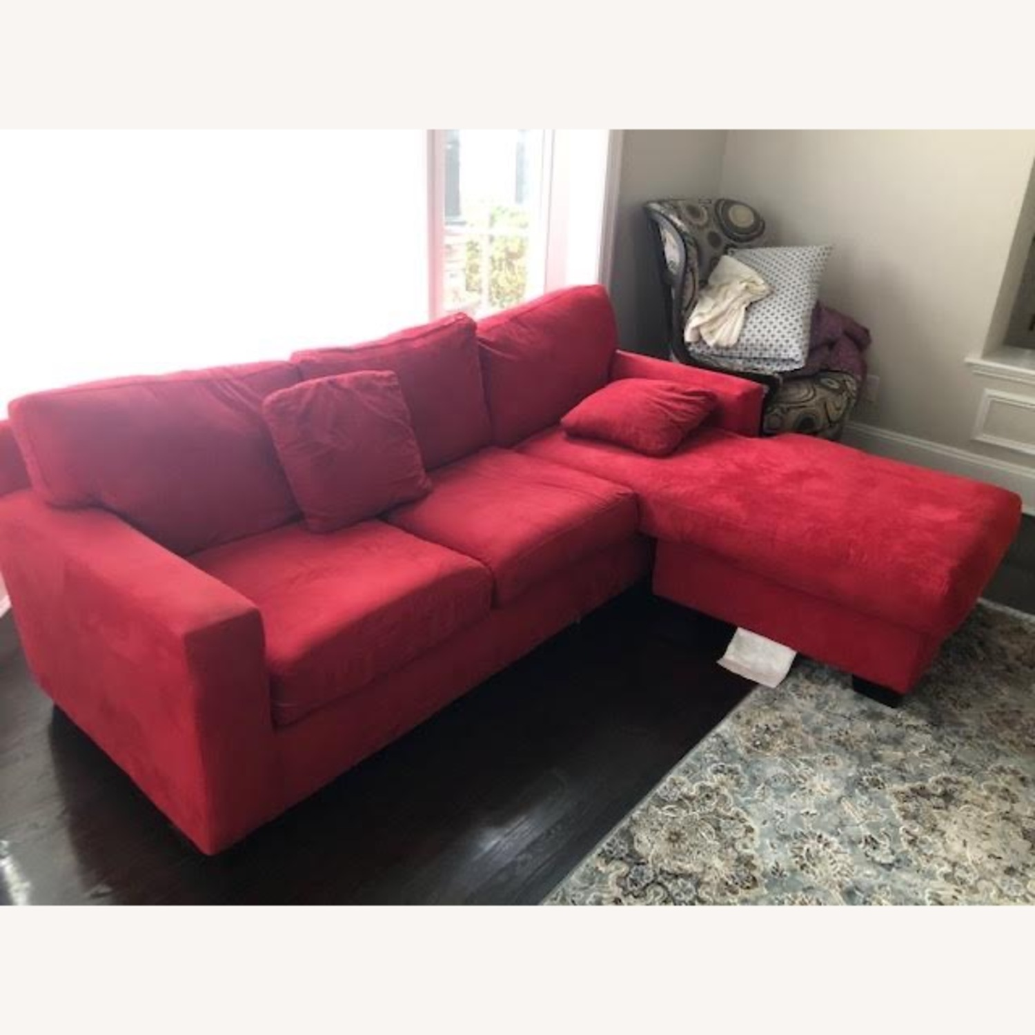 Macy's Red Suede Sofa Bed with Chaise Lounge - image-2