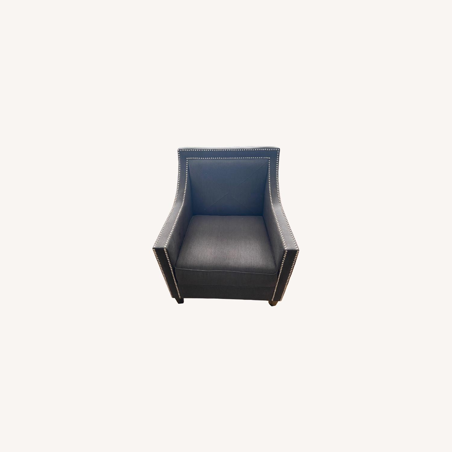 Charcoal Grey Upholstered Arm Chair - image-0
