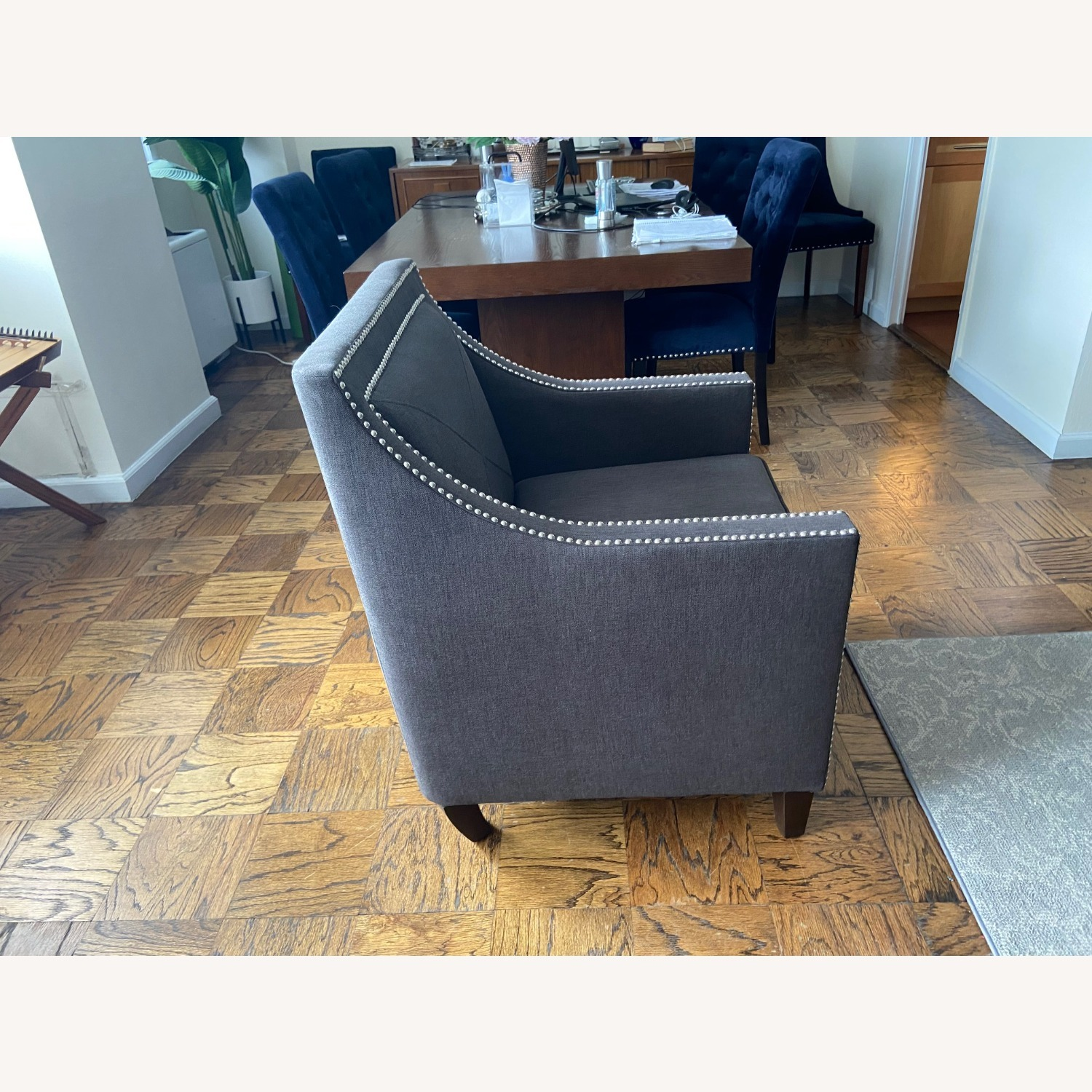 Charcoal Grey Upholstered Arm Chair - image-4