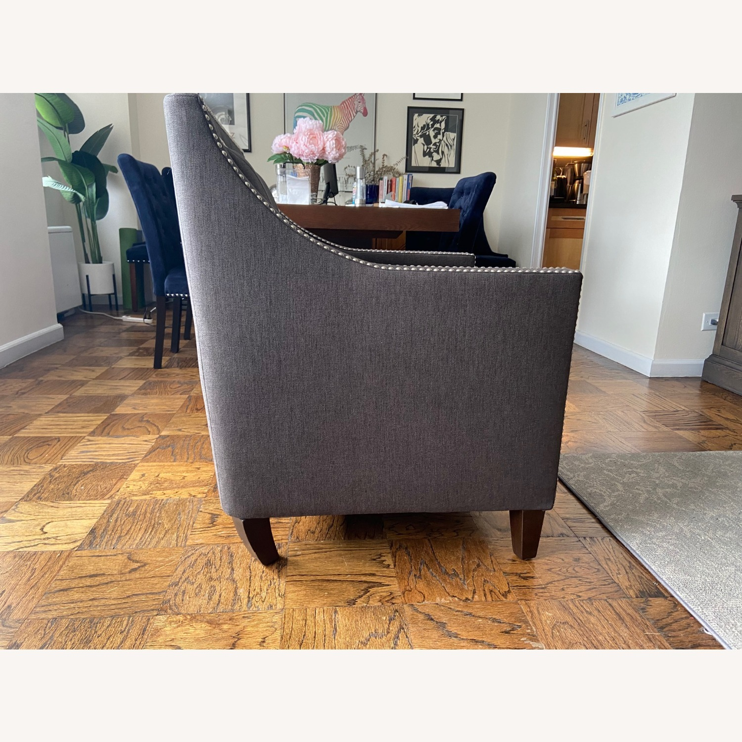 Charcoal Grey Upholstered Arm Chair - image-3