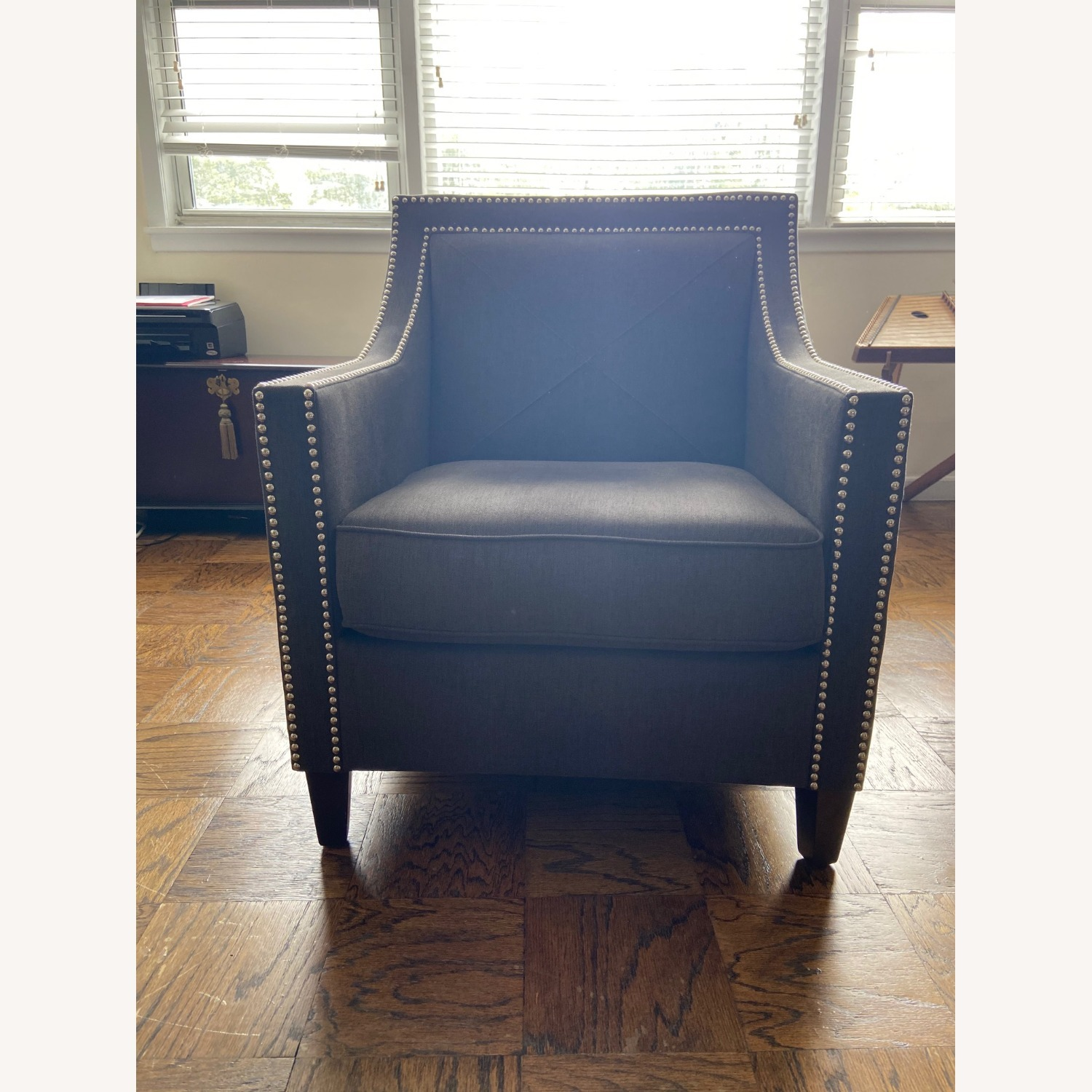Charcoal Grey Upholstered Arm Chair - image-2