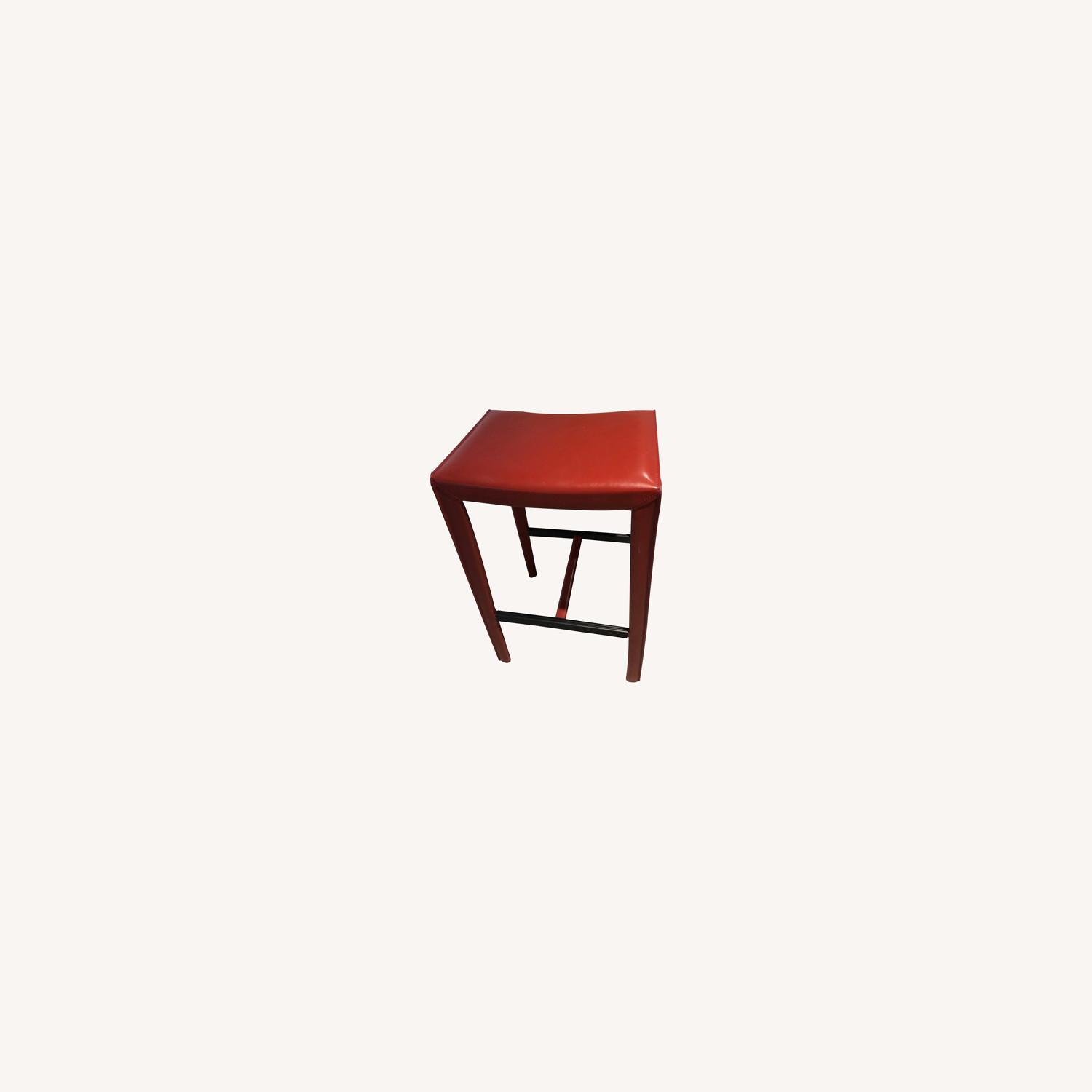 Crate & Barrel Backless Red Leather Stools - image-0
