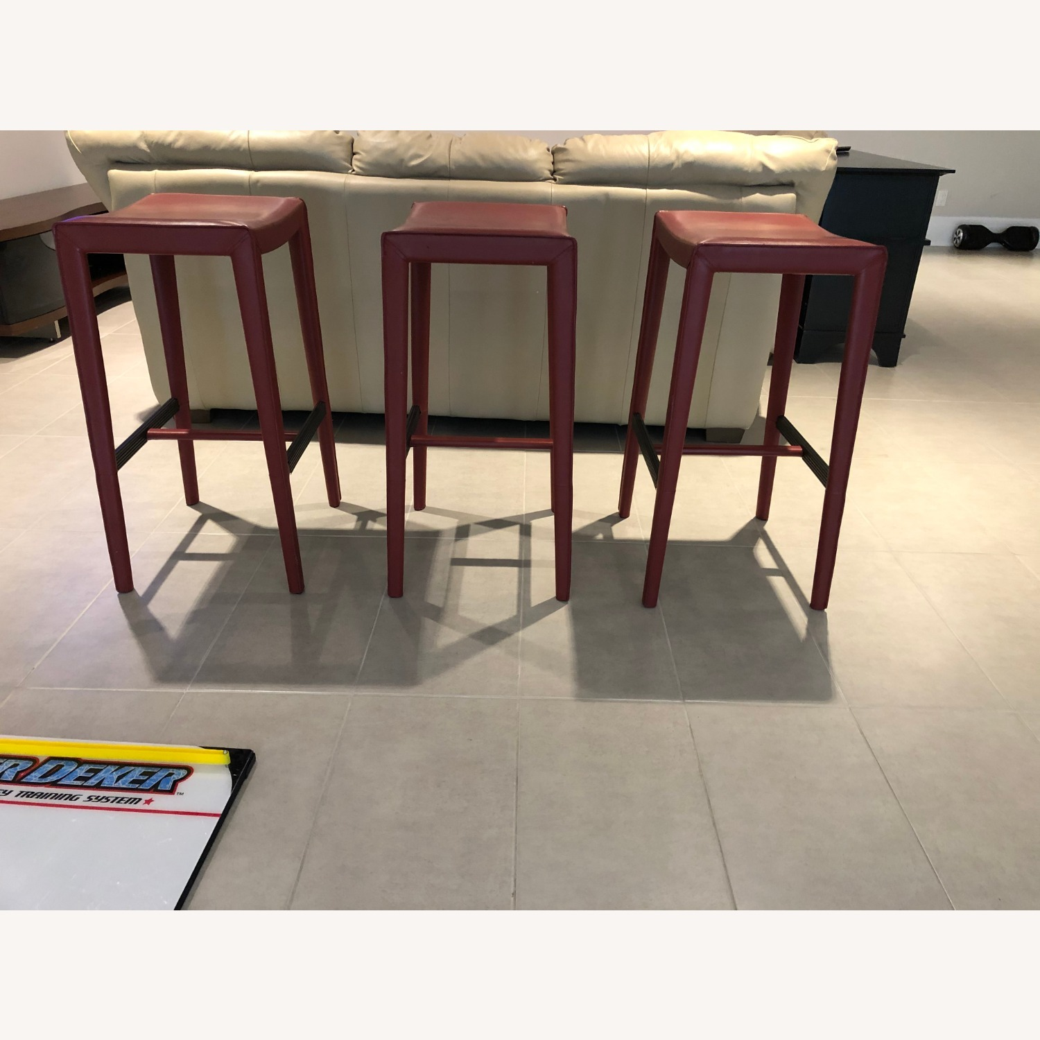 Crate & Barrel Backless Red Leather Stools - image-3