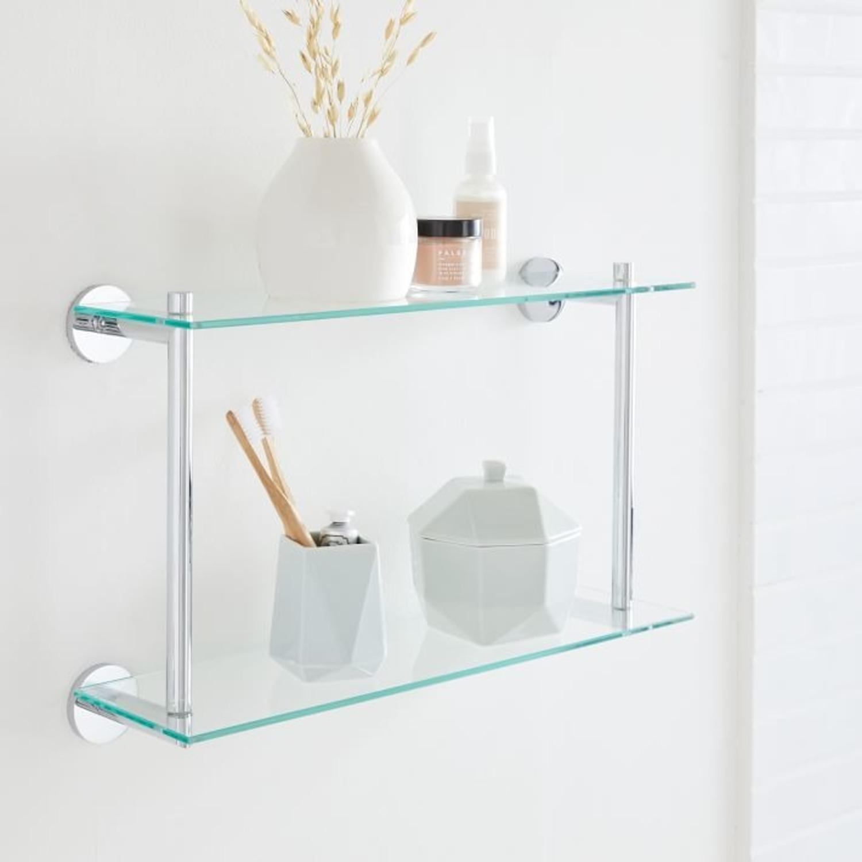 West Elm Modern Overhang Glass Bath Shelf - image-1