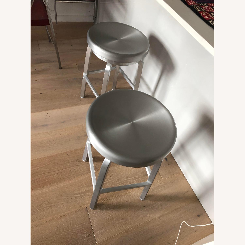 Crate & Barrel Aluminum Counter stools - image-2