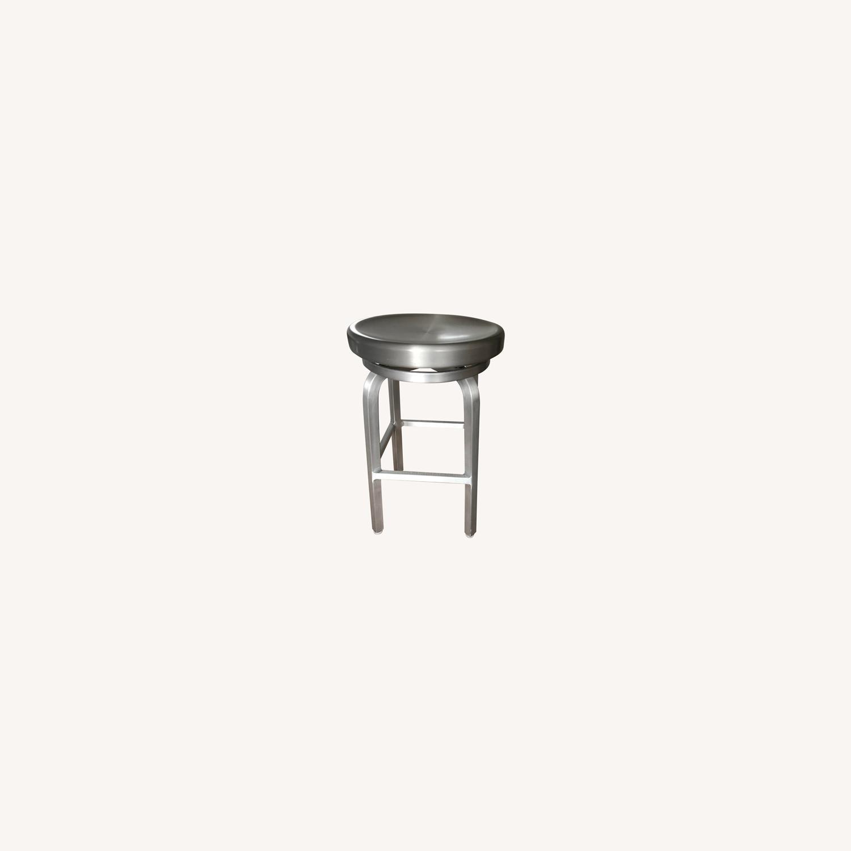 Crate & Barrel Aluminum Counter stools - image-0