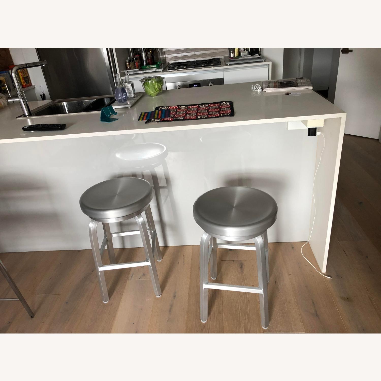 Crate & Barrel Aluminum Counter stools - image-1