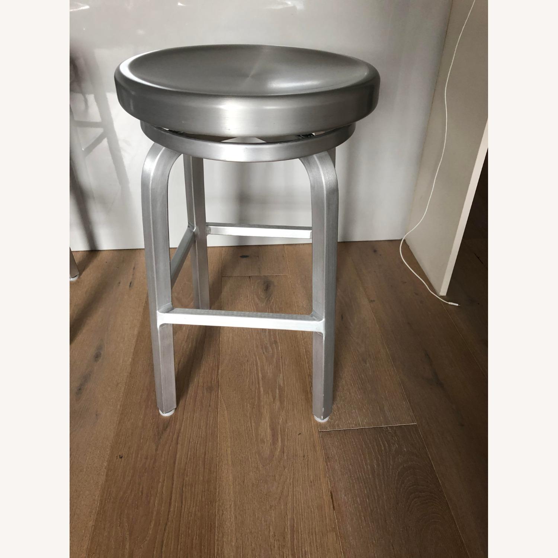 Crate & Barrel Aluminum Counter stools - image-3
