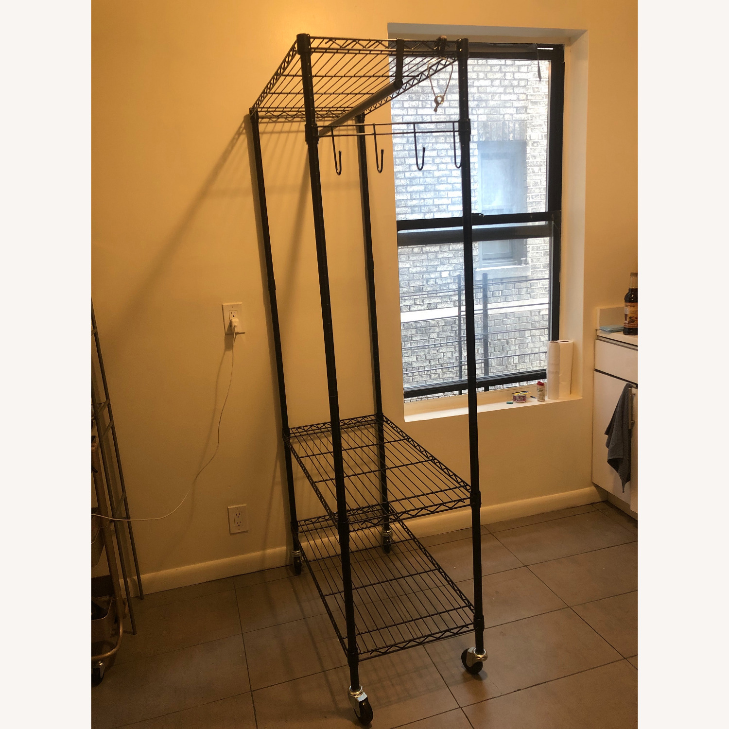 Rolling Garment Rack with Shelves - image-3