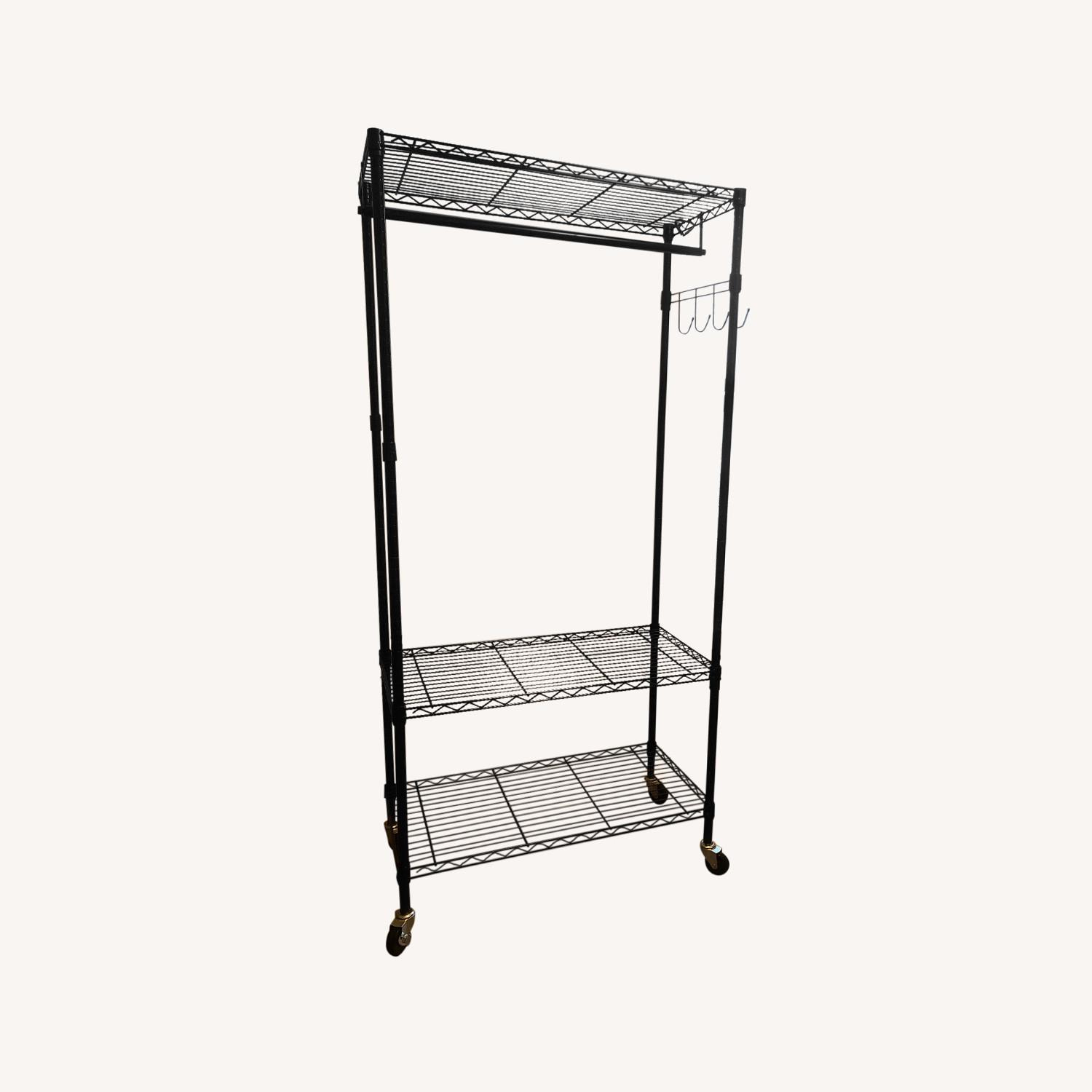 Rolling Garment Rack with Shelves - image-0