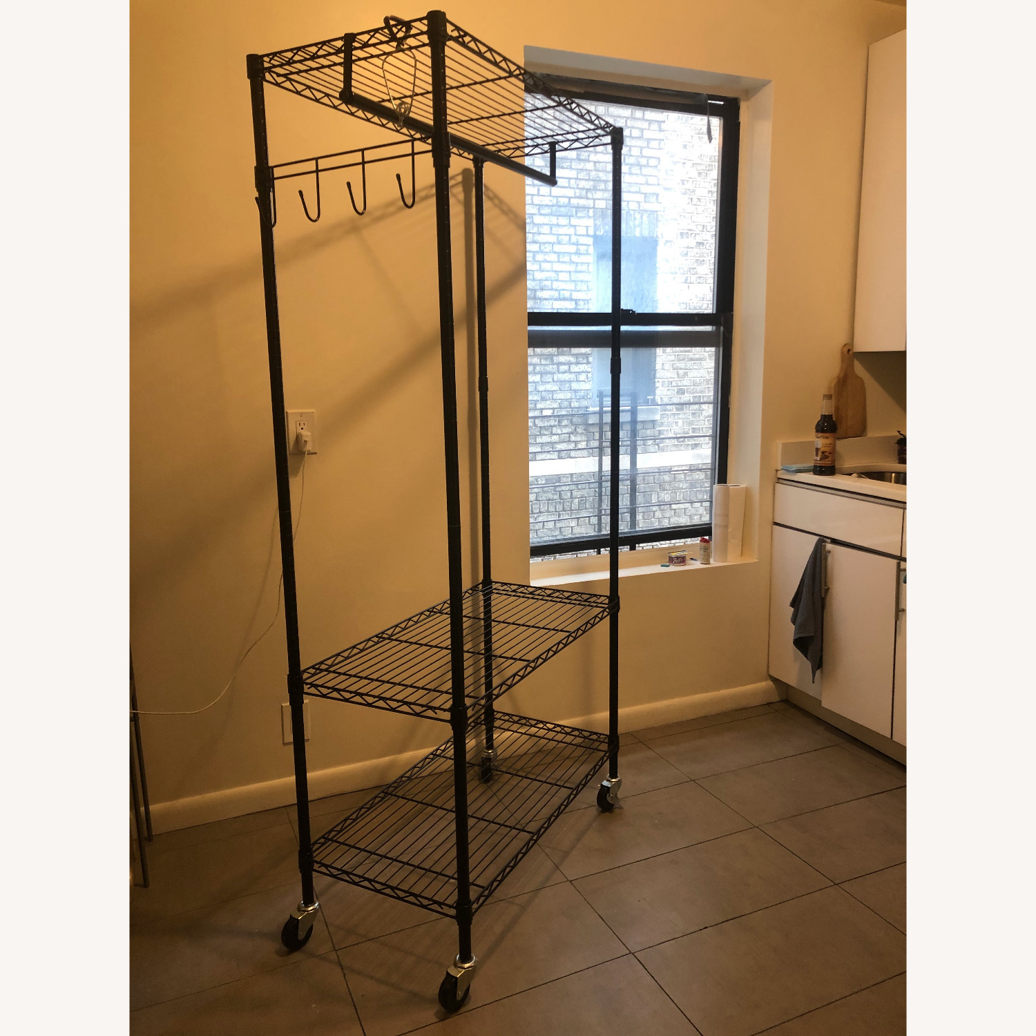 Rolling Garment Rack with Shelves - image-2