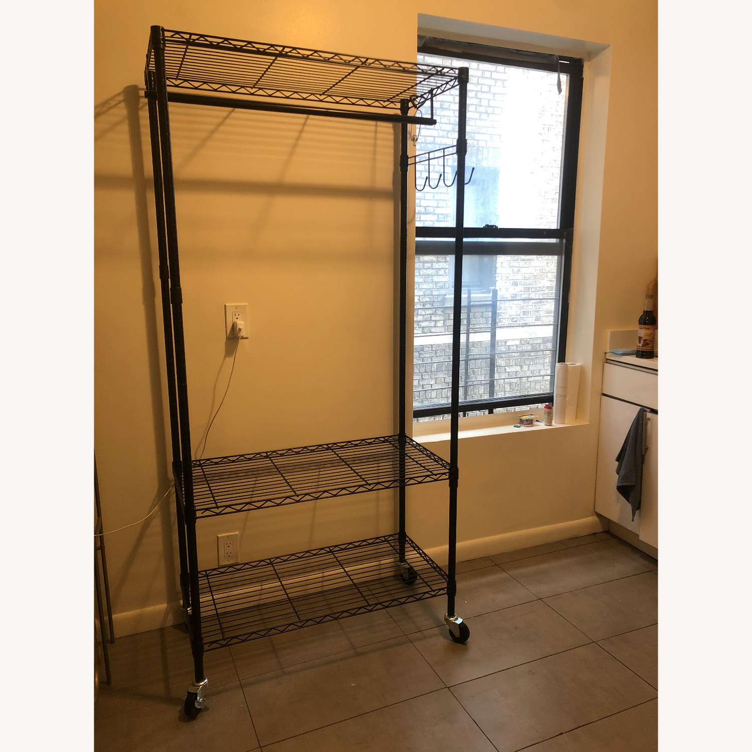 Rolling Garment Rack with Shelves - image-1