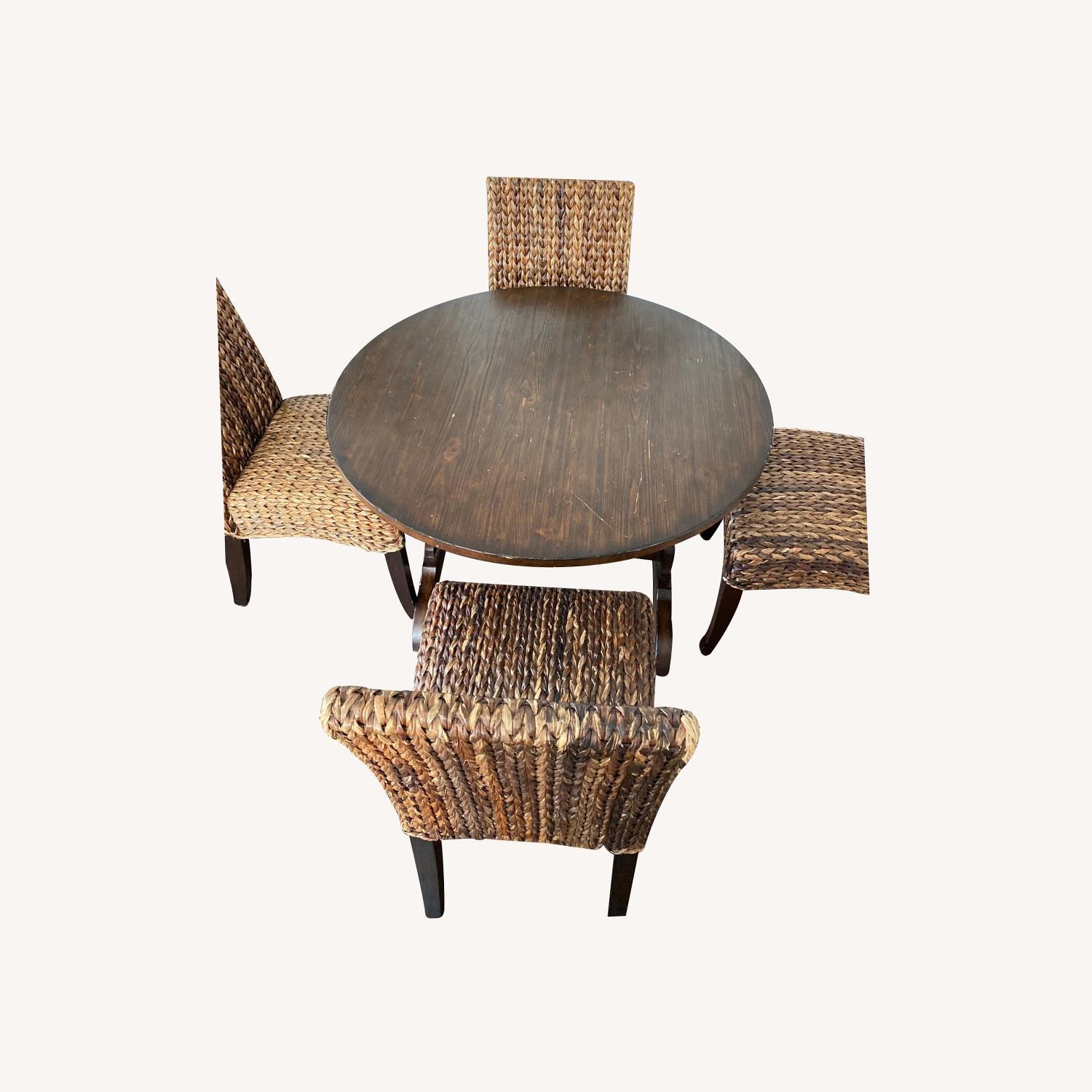 Pottery Barn Dining Table and Seagrass Chair Set - image-0