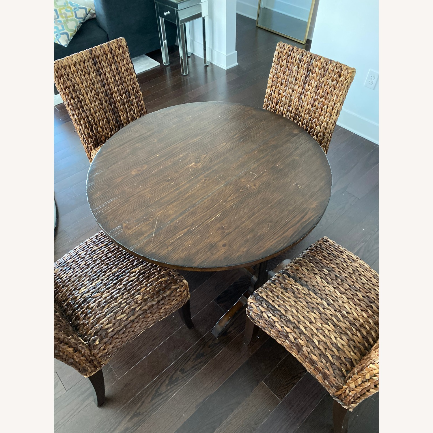 Pottery Barn Dining Table and Seagrass Chair Set - image-1
