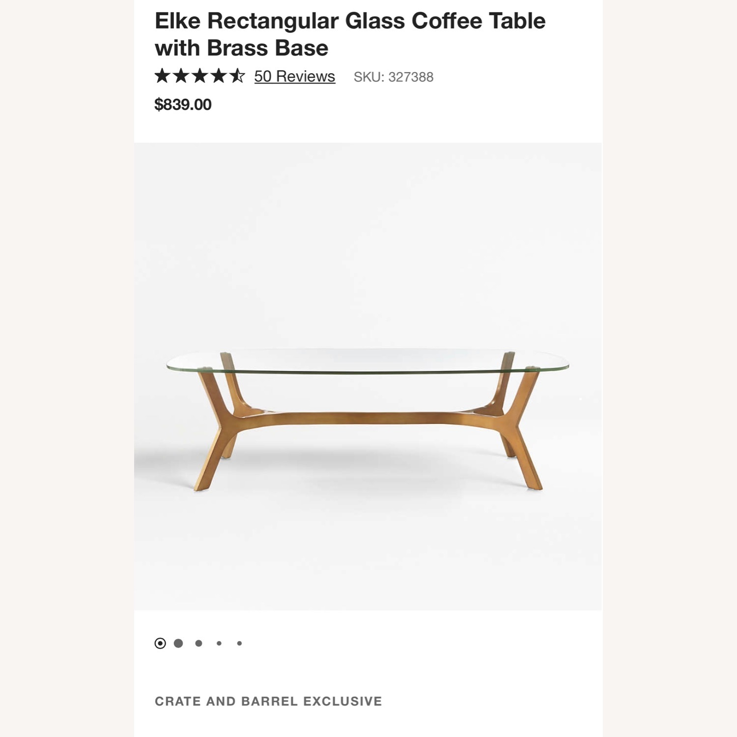 Crate and Barrel Coffee Table - image-3