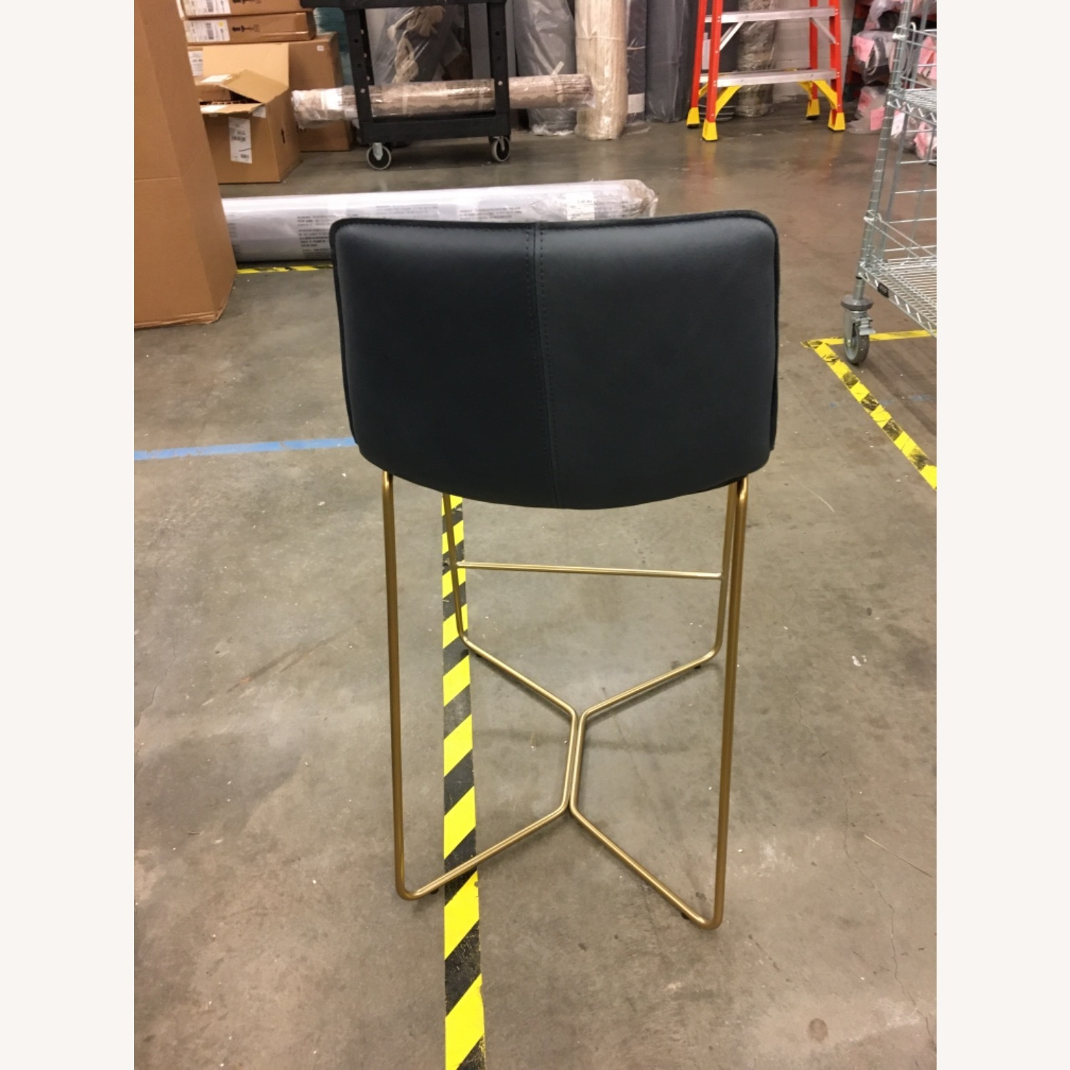 West Elm Slope Leather Counter Stool - image-3