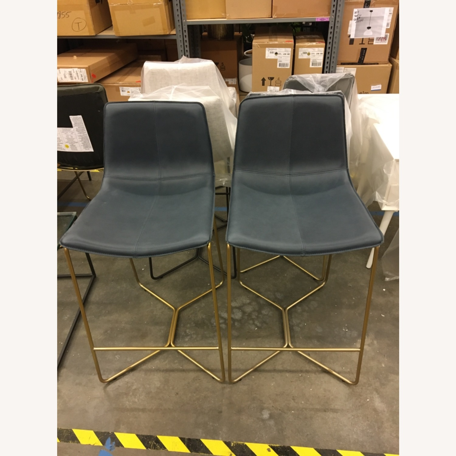 West Elm Leather Counter Stools - image-1